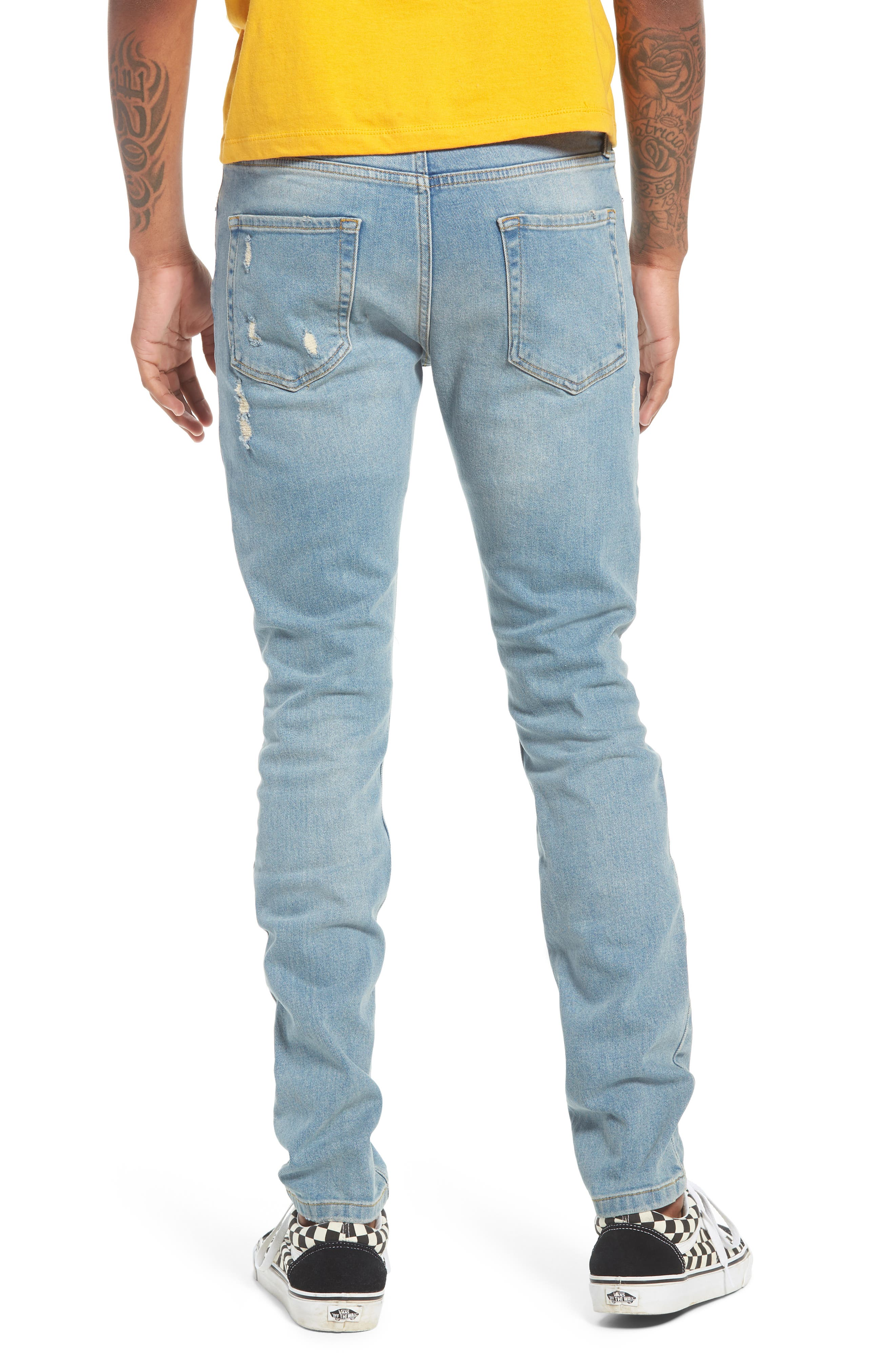 TOPMAN, Ripped Stretch Skinny Jeans, Alternate thumbnail 2, color, LIGHT WASH DENIM
