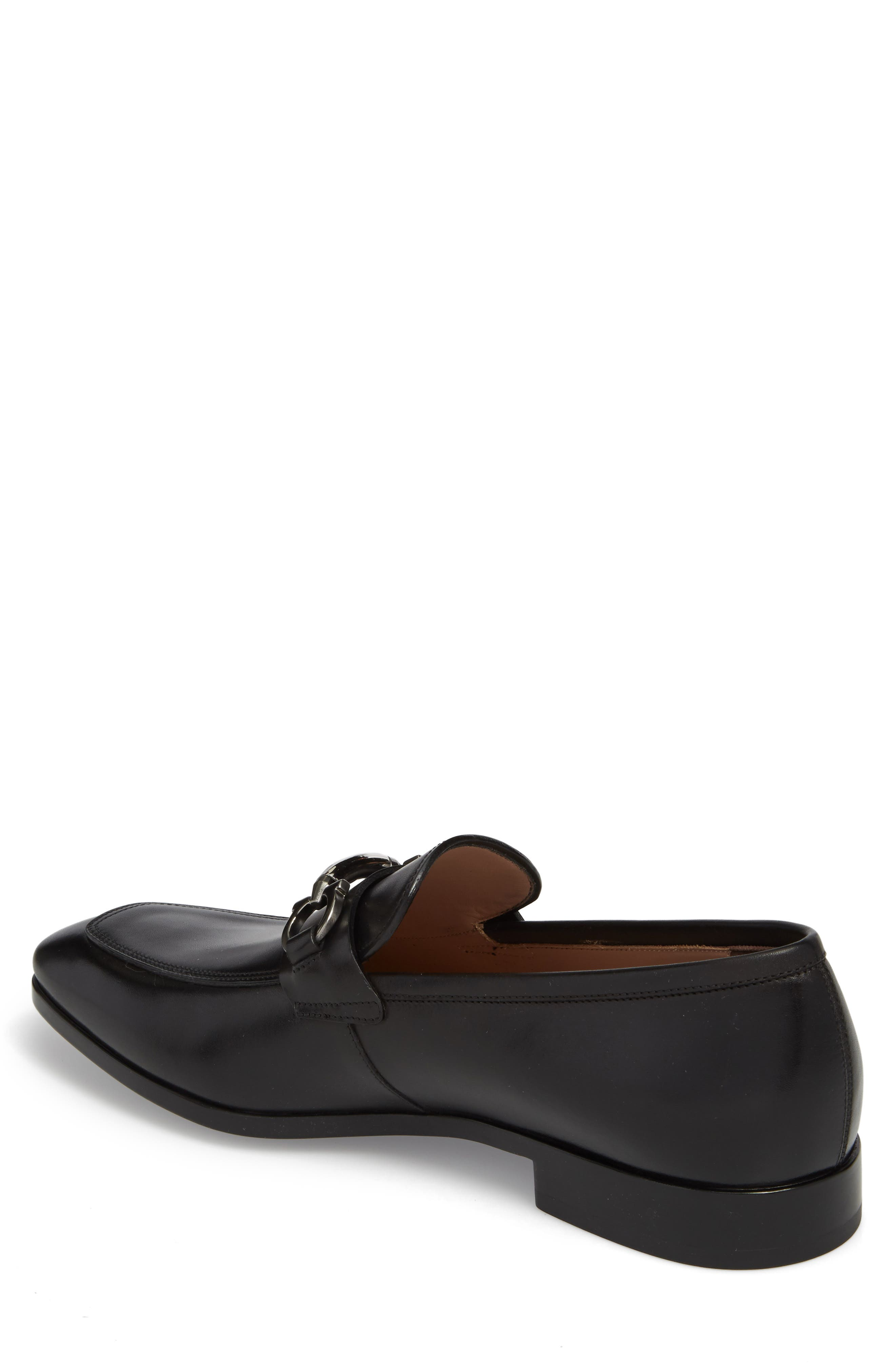 SALVATORE FERRAGAMO, Benford Rounded Bit Loafer, Alternate thumbnail 2, color, NERO LEATHER