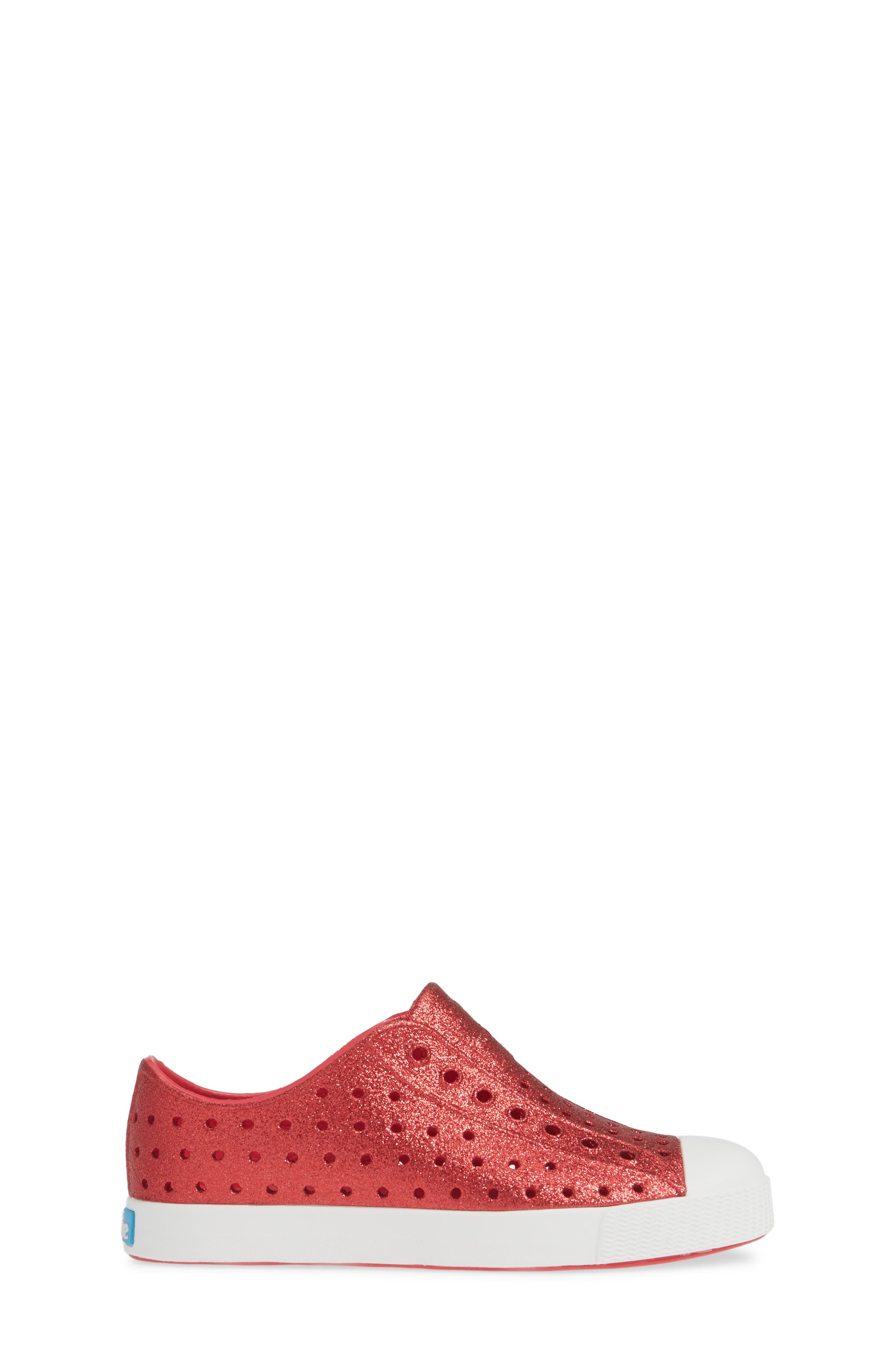 NATIVE SHOES, Jefferson Bling Glitter Slip-On Vegan Sneaker, Alternate thumbnail 3, color, SAKURA BLING/ SHELL WHITE