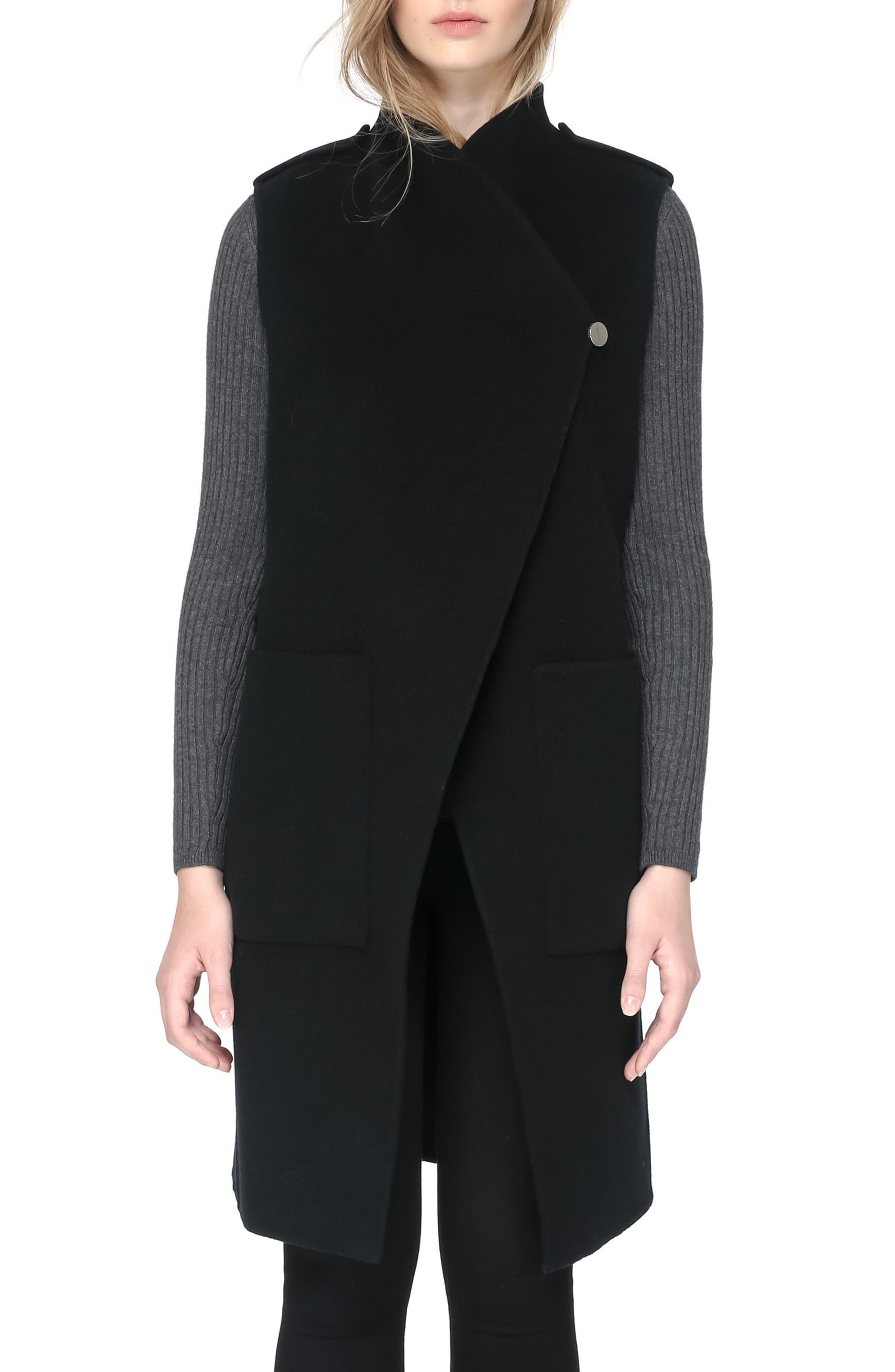 SOIA & KYO, Reversible Wool Blend Vest, Alternate thumbnail 4, color, 001