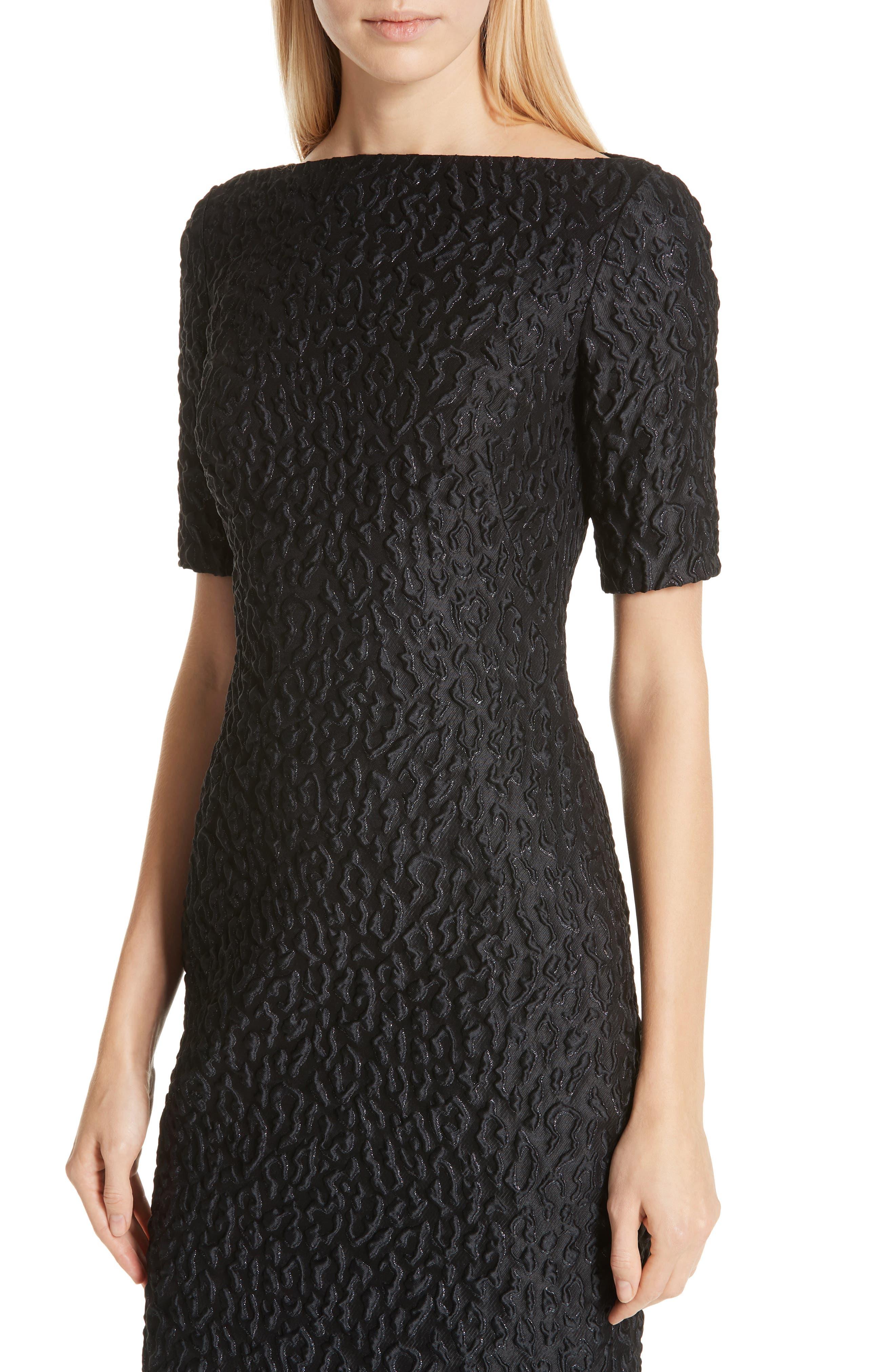 BRANDON MAXWELL, Leopard Jacquard Sheath Dress, Alternate thumbnail 5, color, BLACK