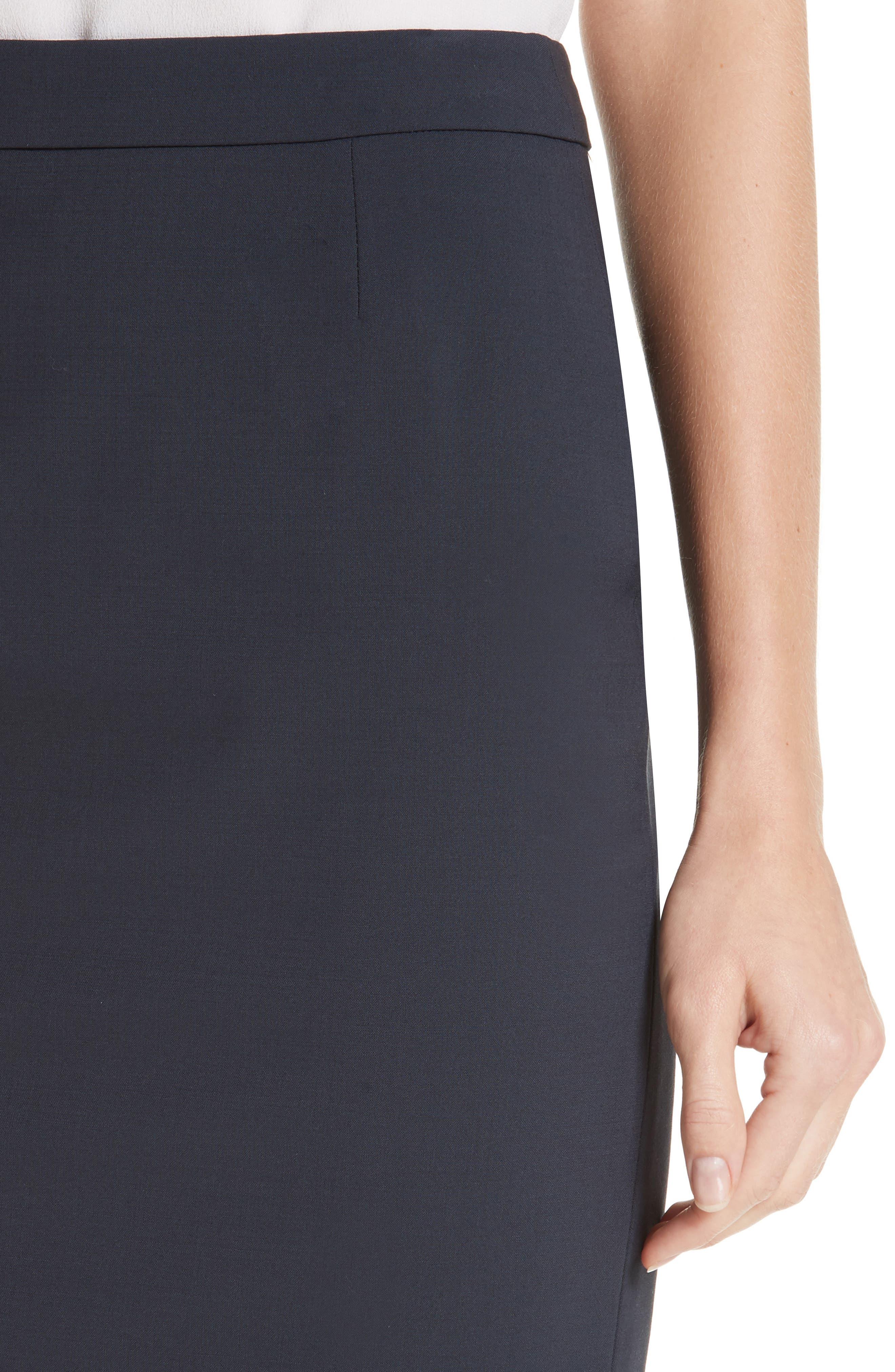 BOSS, Vilea Tropical Stretch Wool Pencil Skirt, Alternate thumbnail 4, color, NAVY