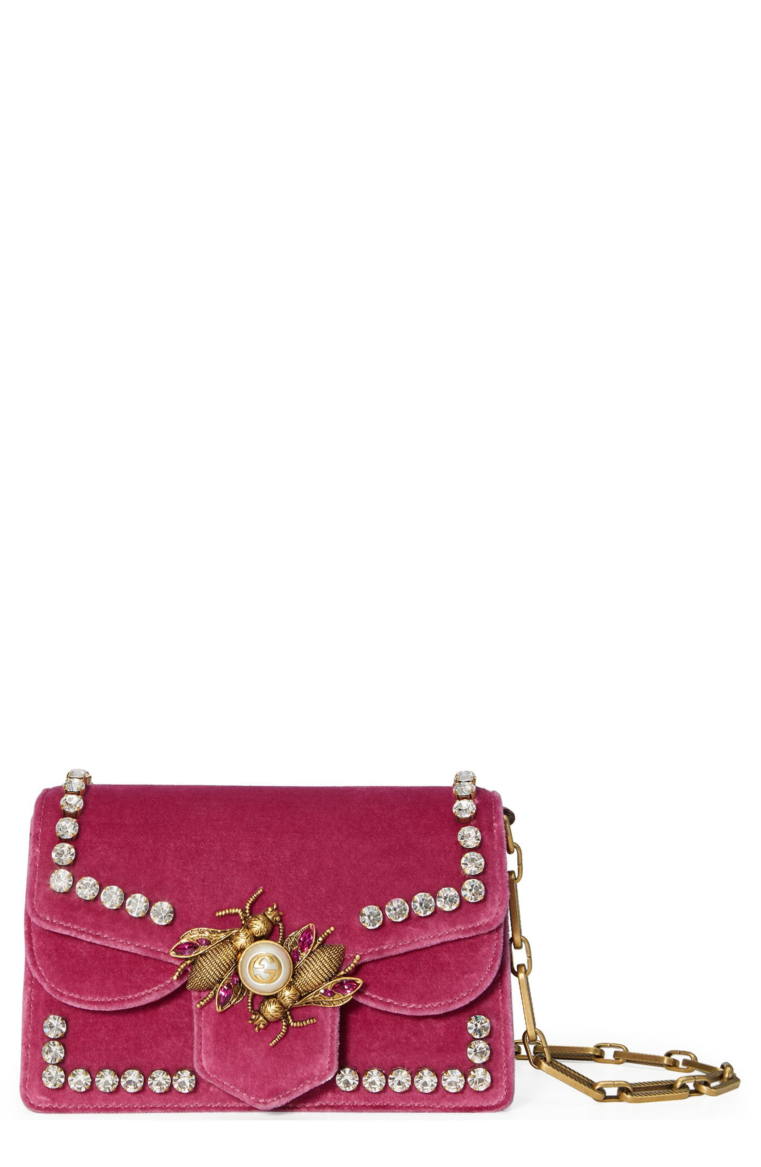 GUCCI Broadway Bee Velvet Shoulder Bag, Main, color, PINK