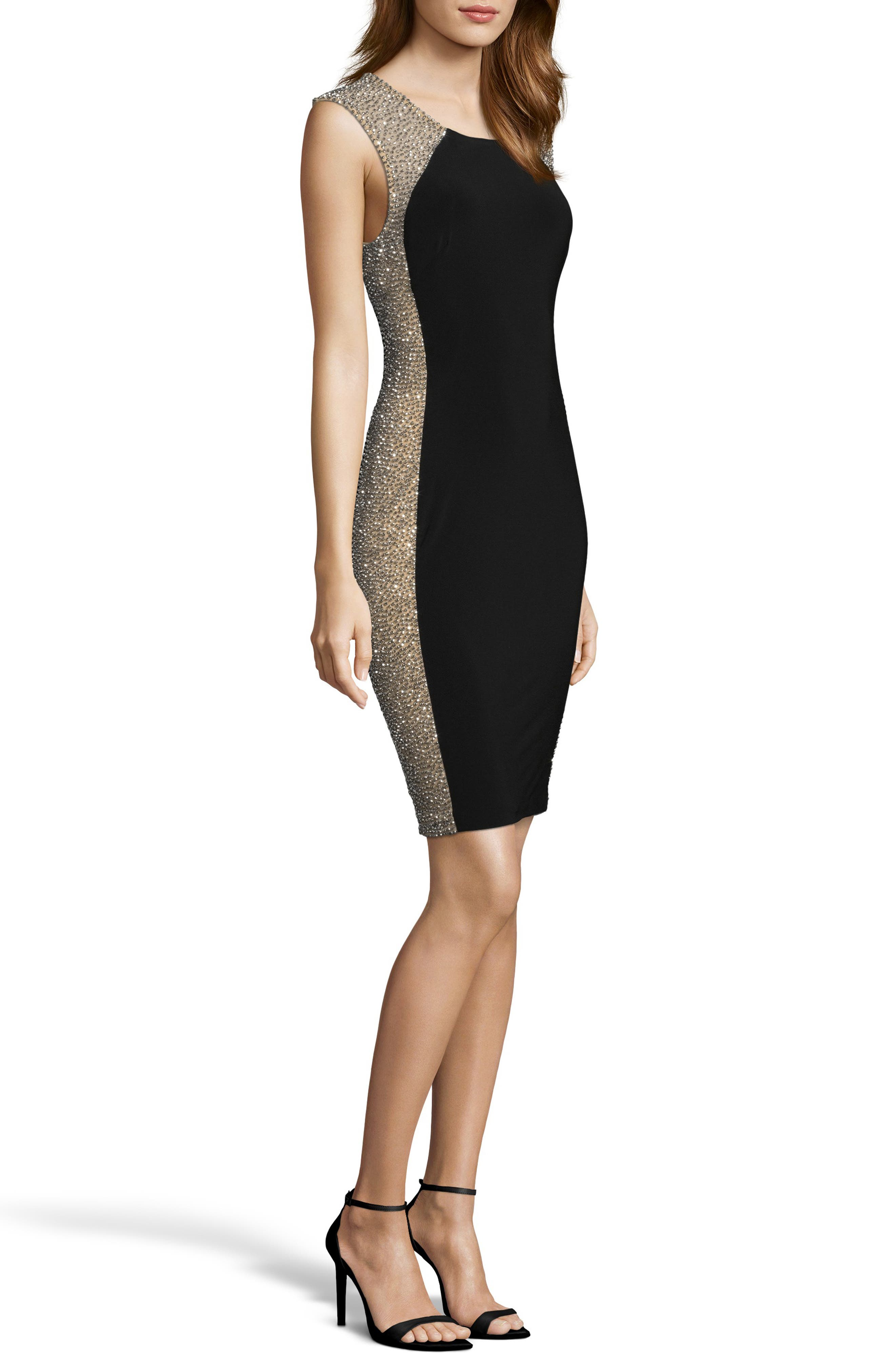 XSCAPE, Beaded Cocktail Dress, Alternate thumbnail 3, color, BLACK/ NUDE/ SILVER