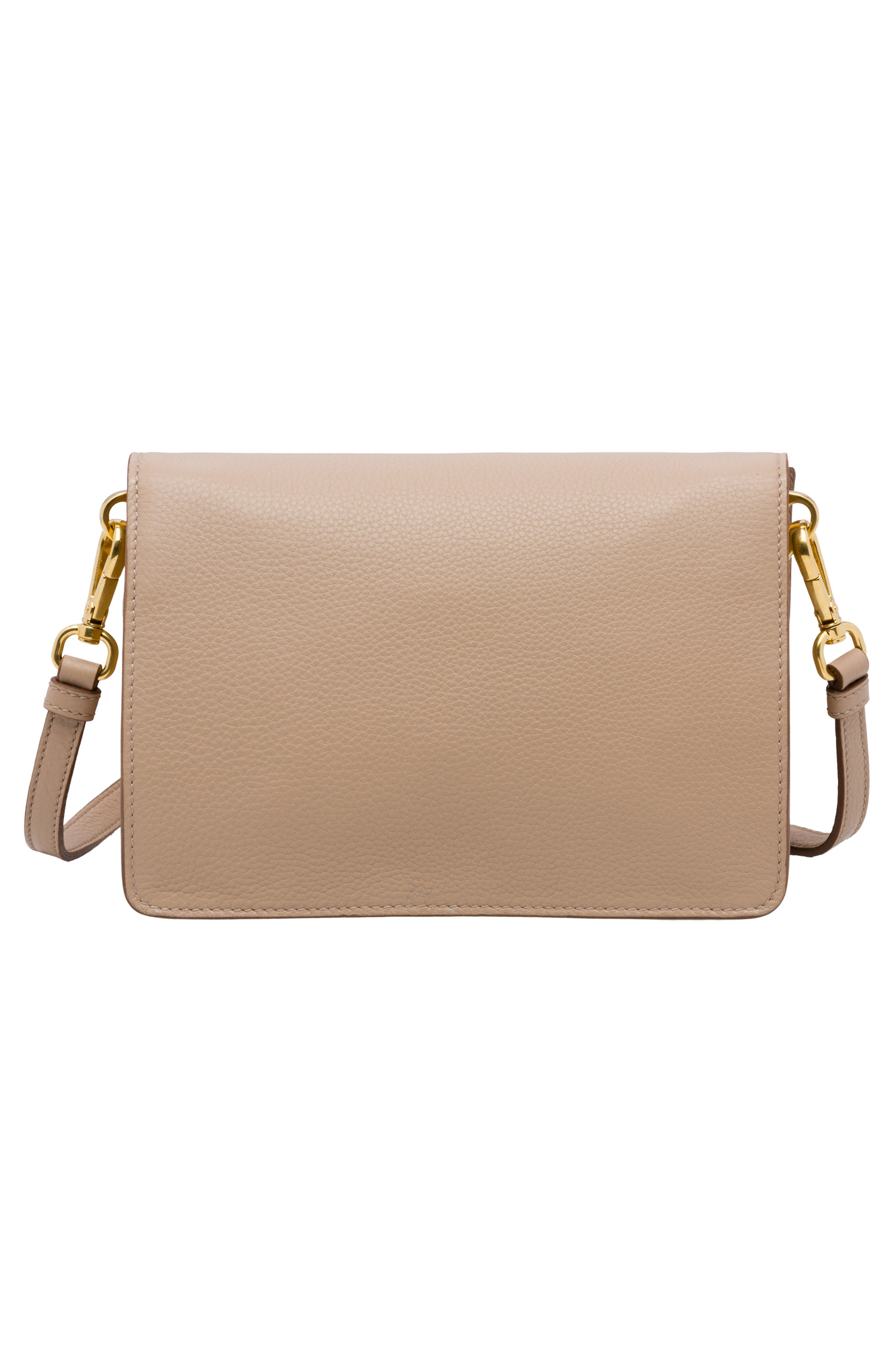 PRADA, Vitello Daino Double Compartment Leather Shoulder Bag, Alternate thumbnail 3, color, CAMMEO