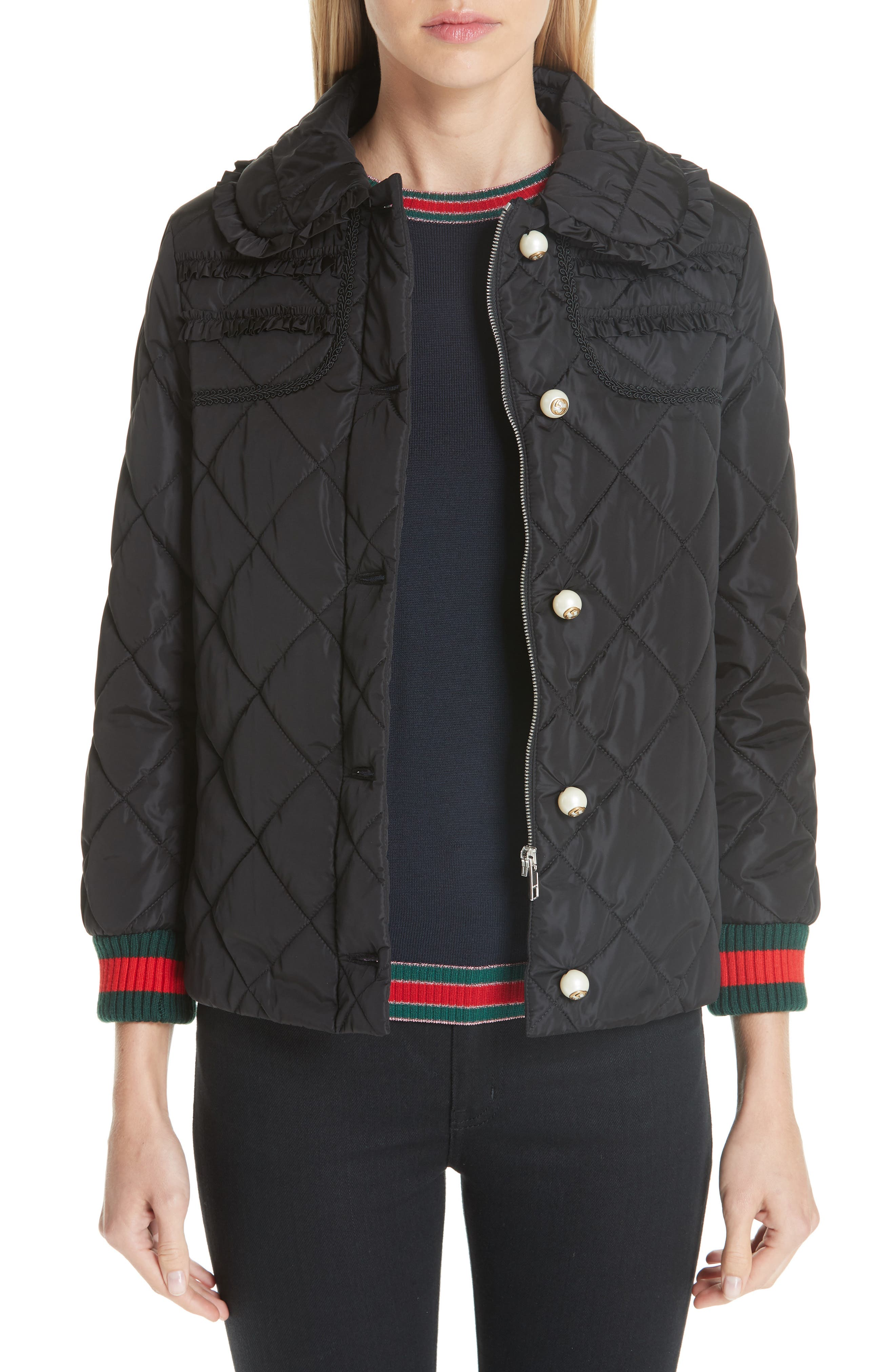 GUCCI, Ruffle Trim Quilted Caban, Main thumbnail 1, color, NERO
