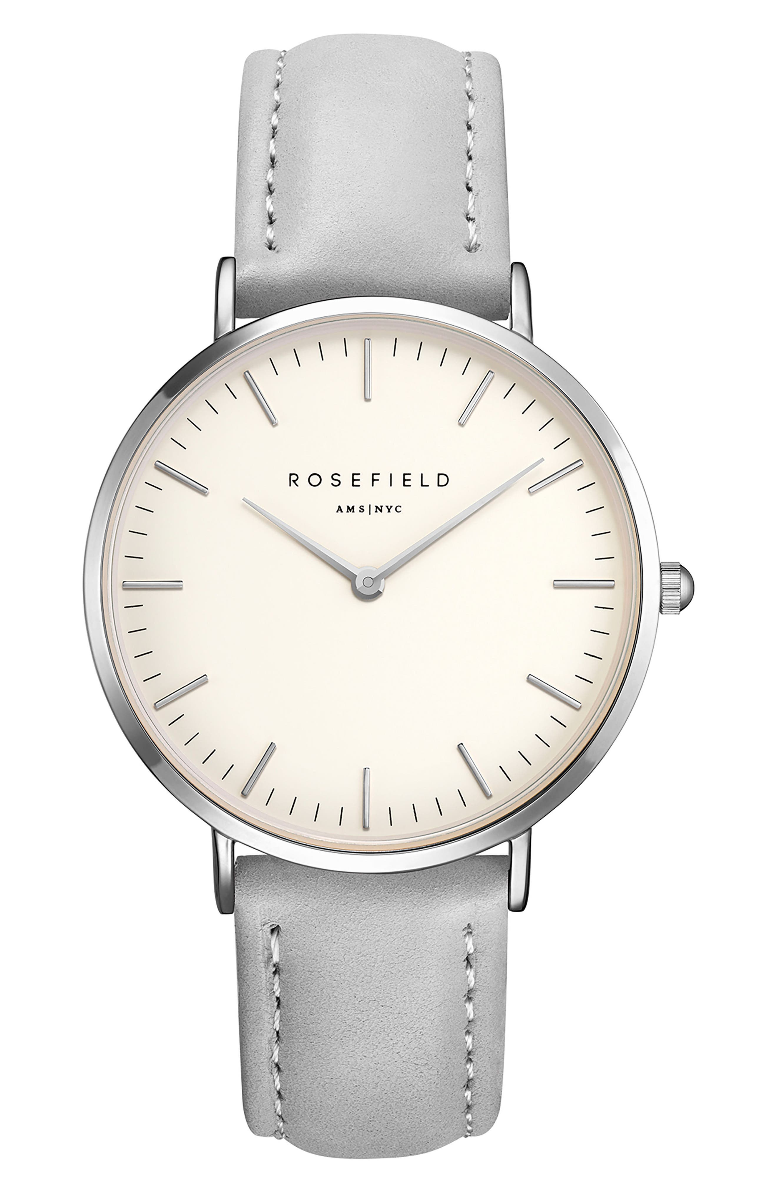 ROSEFIELD Bowery Leather Strap Watch, 38mm, Main, color, GREY/ WHITE/ SILVER
