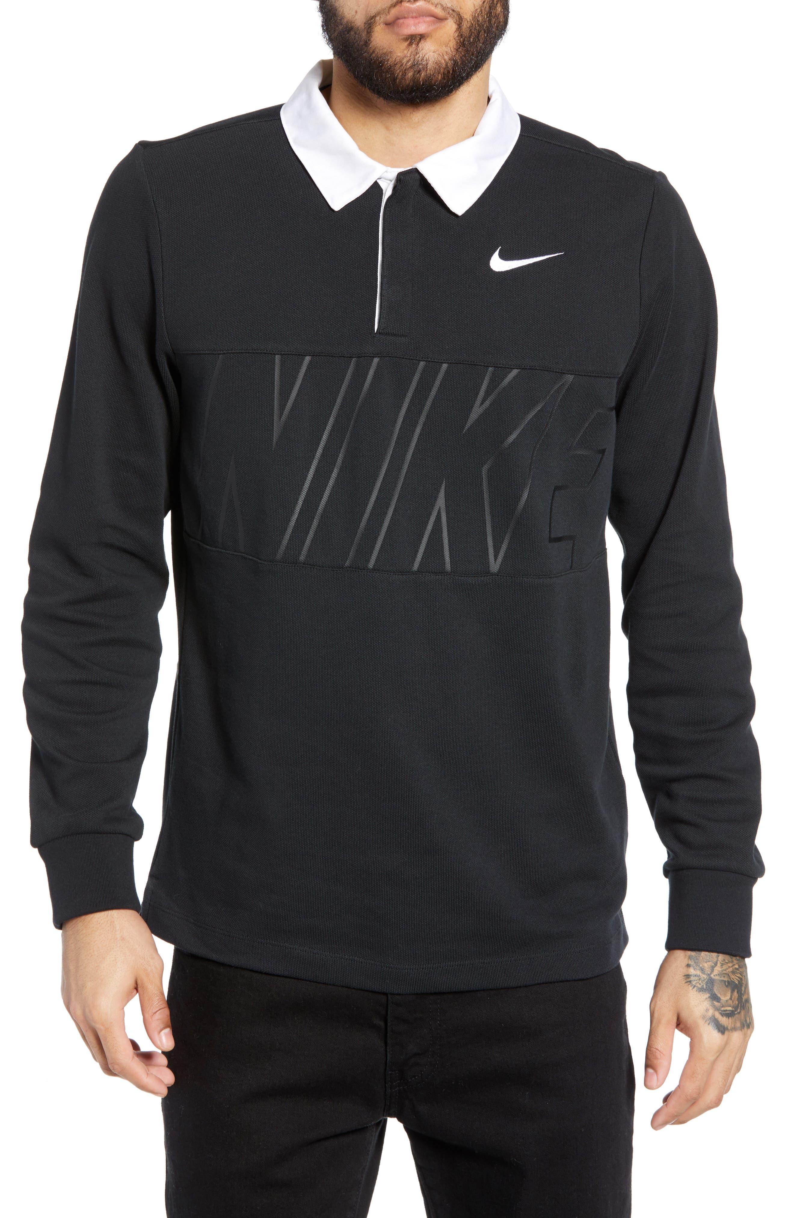 NIKE SB, Nike Dry SB Rugby Polo, Main thumbnail 1, color, BLACK/BLACK/BLACK/WHITE