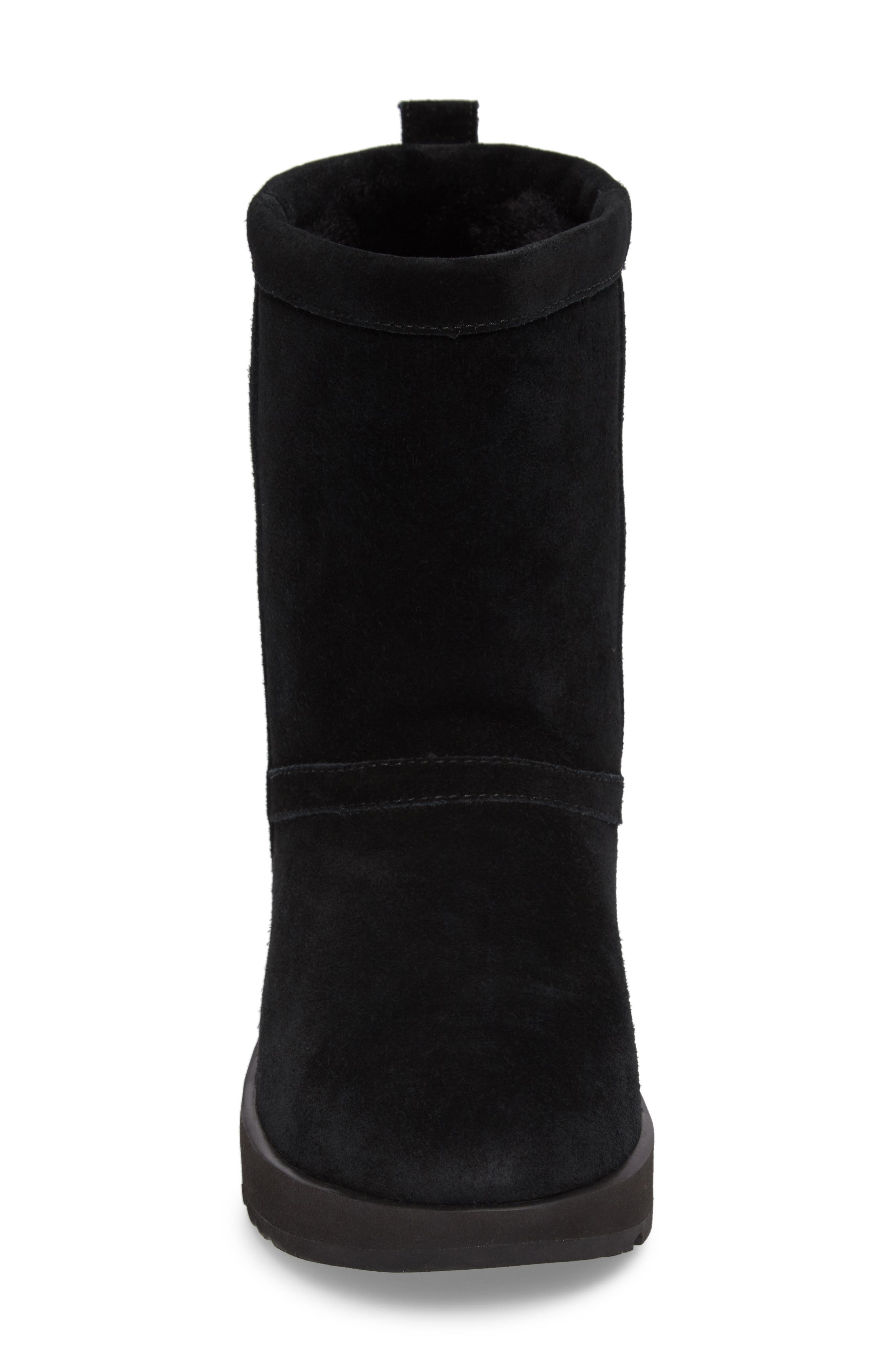 UGG<SUP>®</SUP>, Classic Short Waterproof Boot, Alternate thumbnail 4, color, BLACK SUEDE