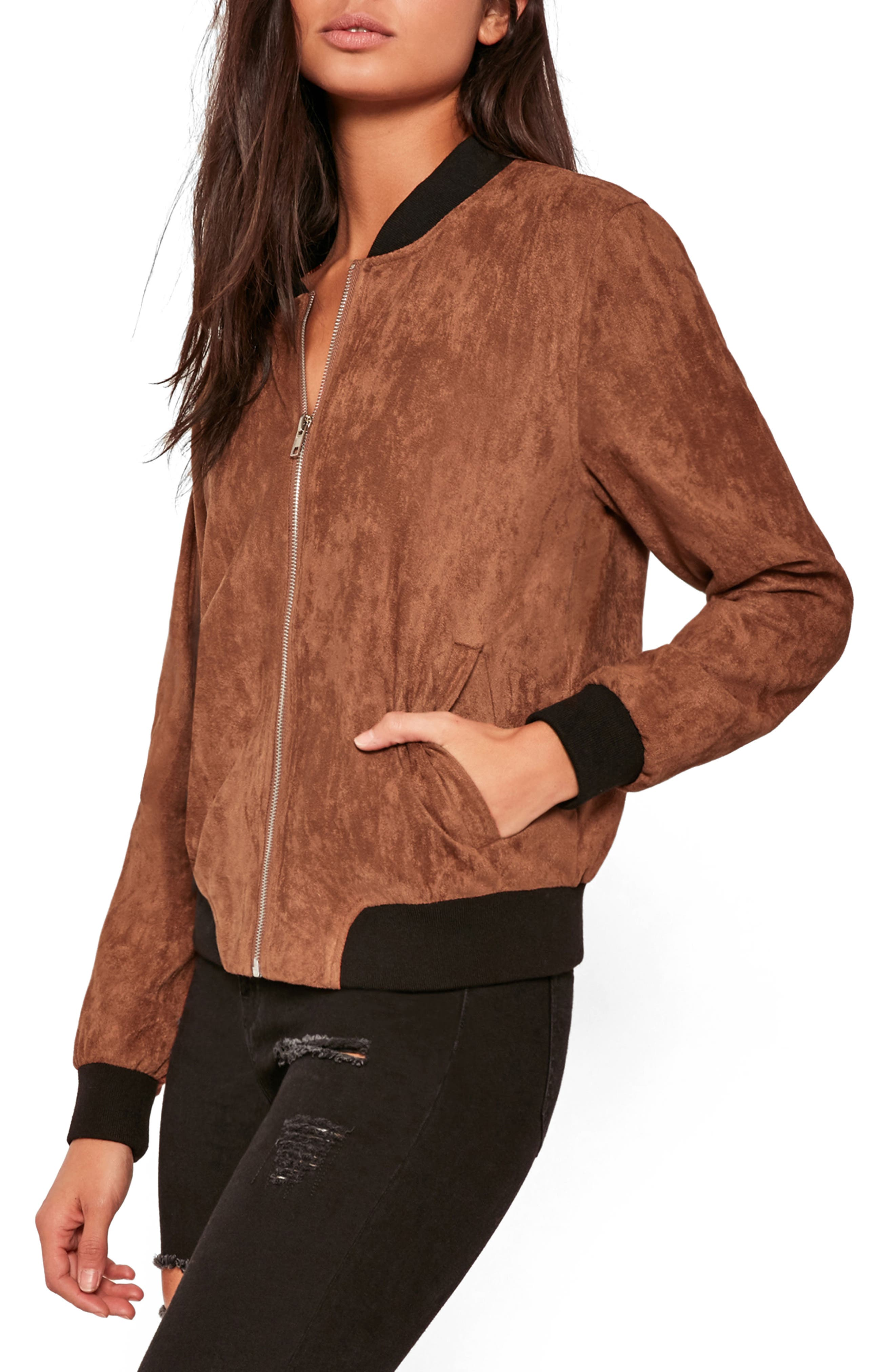 MISSGUIDED, Faux Suede Bomber Jacket, Alternate thumbnail 4, color, 808