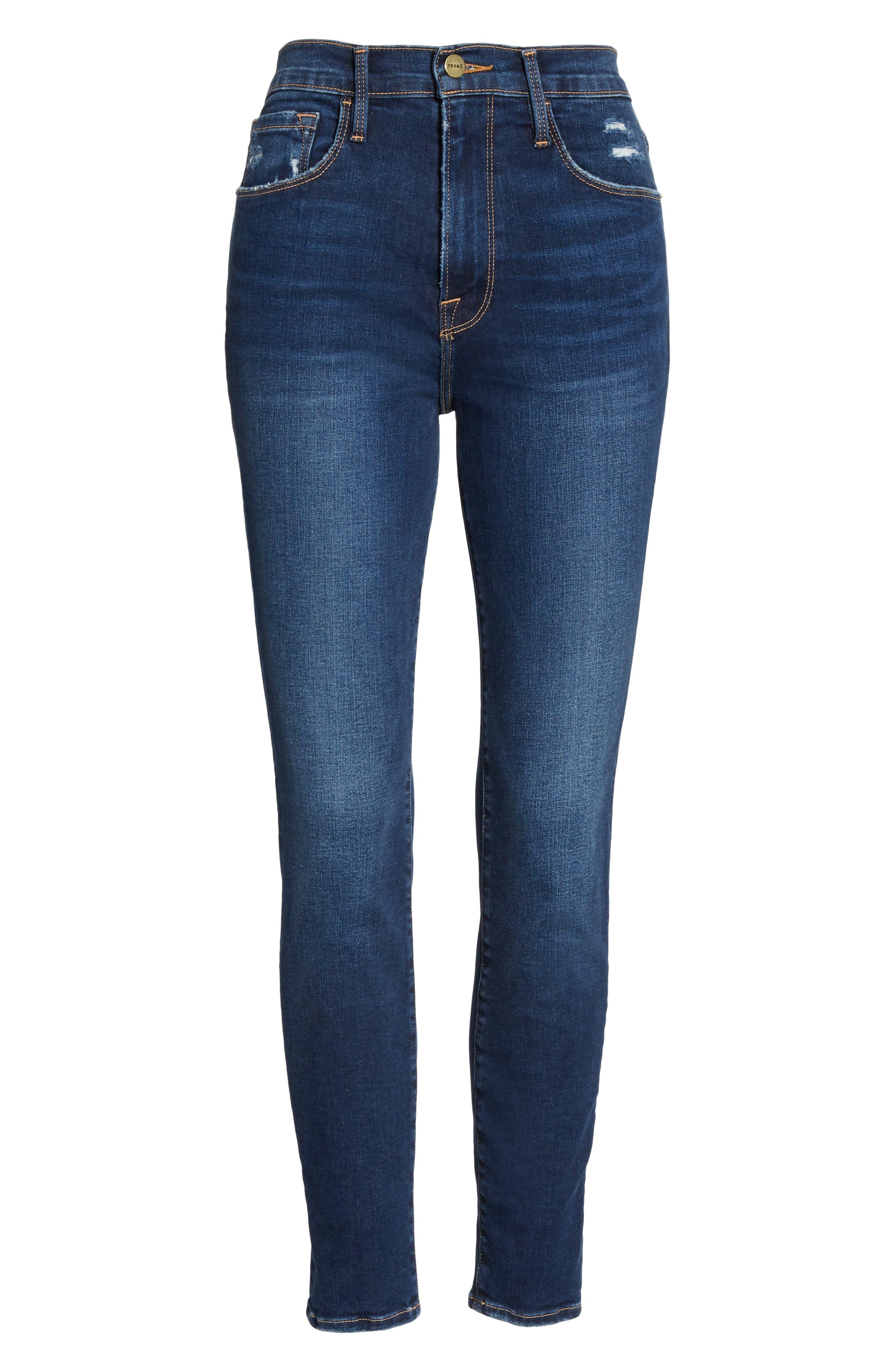 FRAME, Ali High Waist Crop Cigarette Skinny Jeans, Alternate thumbnail 6, color, MANO
