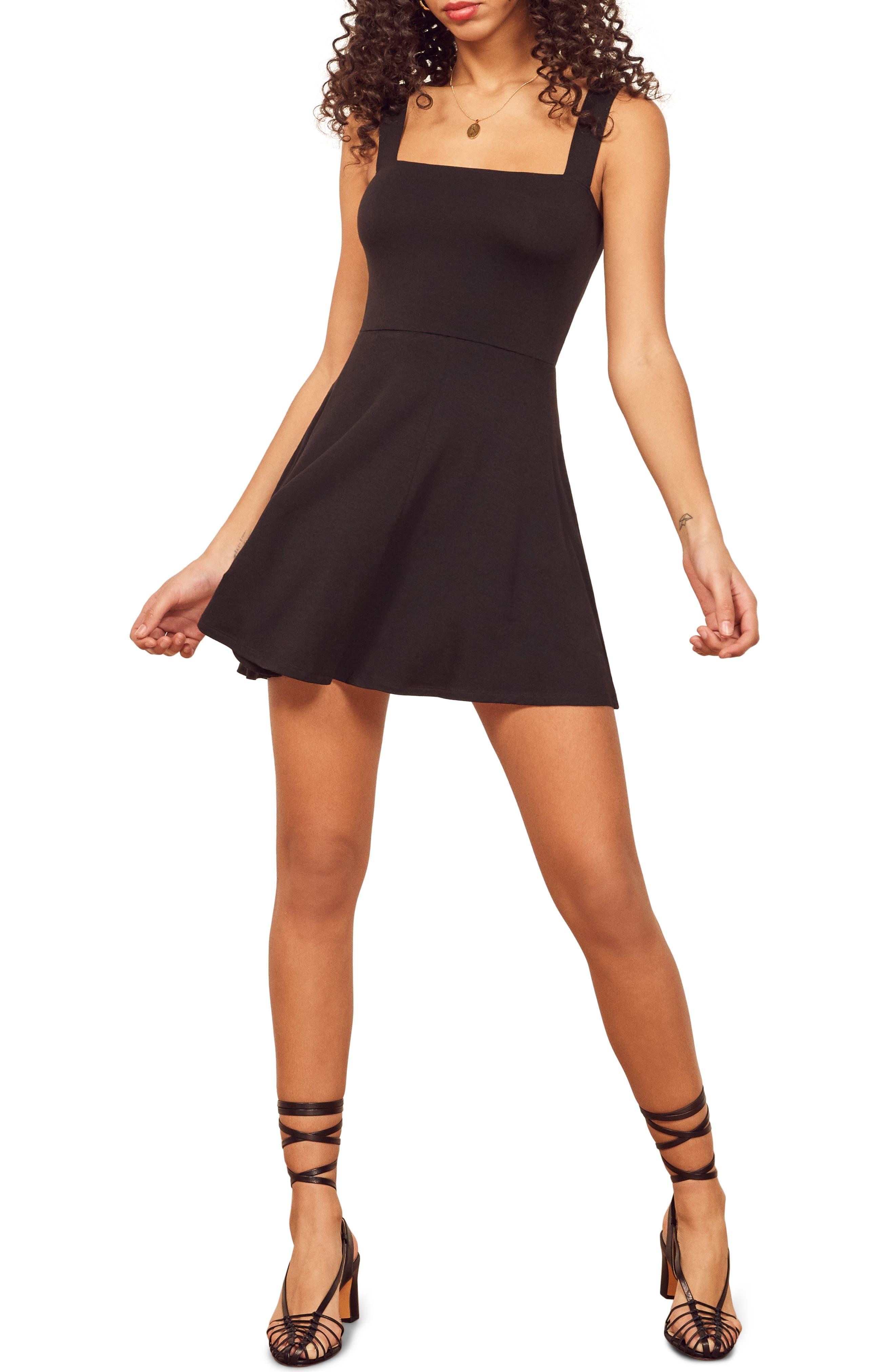 Reformation Anicka Square Neck Skater Dress, Black