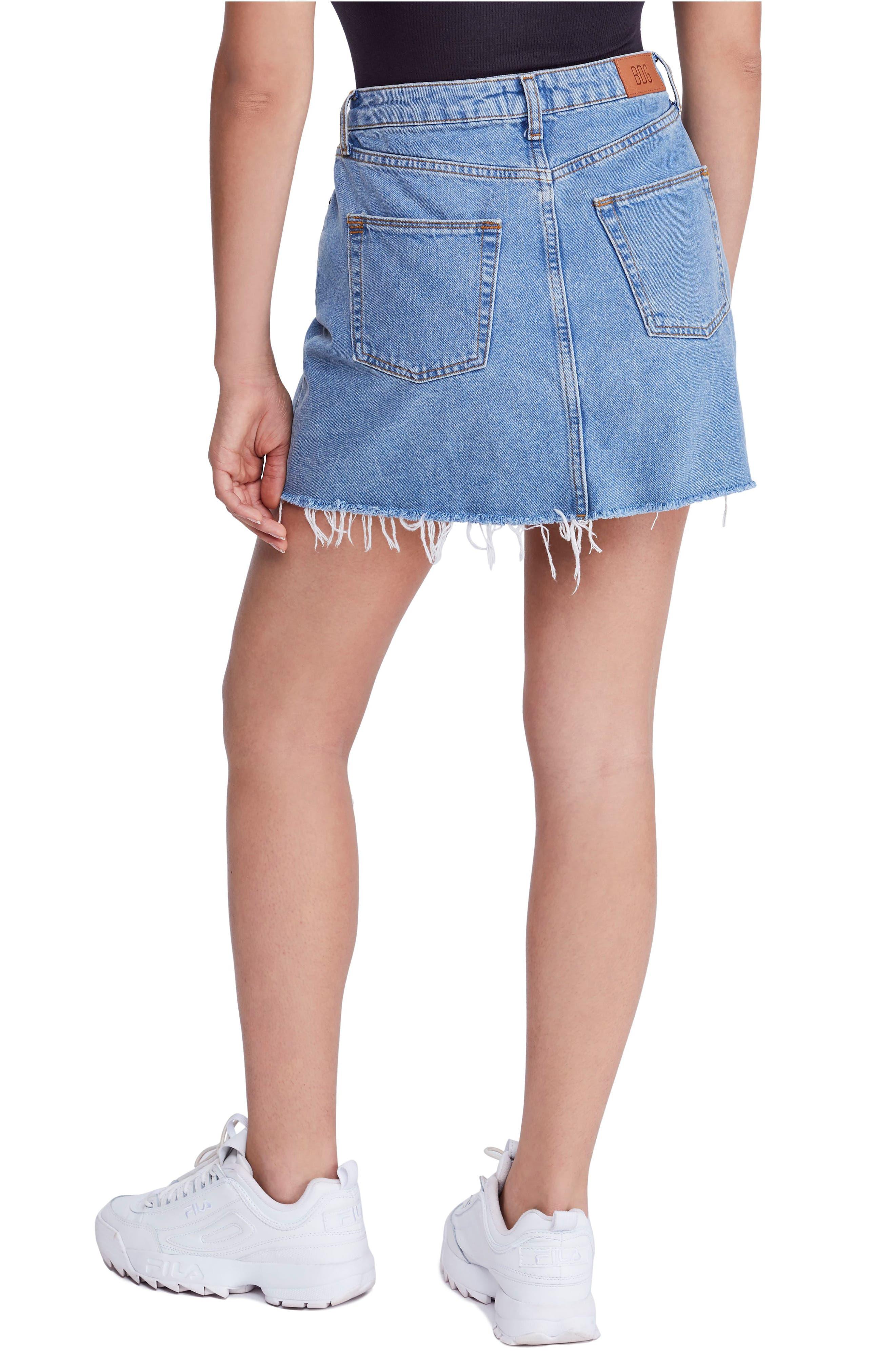 BDG, Urban Outfitters Denim Raw Edge Miniskirt, Alternate thumbnail 2, color, 400