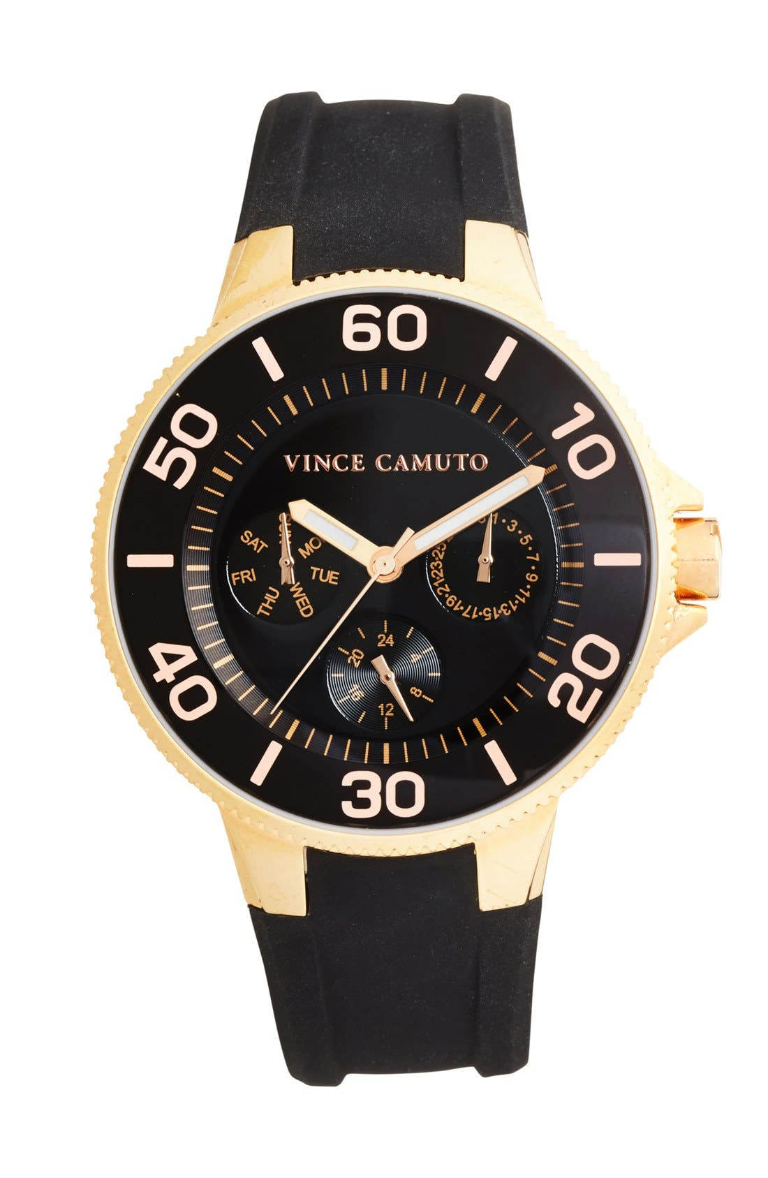 VINCE CAMUTO, Silicone Strap Watch, 38mm, Main thumbnail 1, color, 001