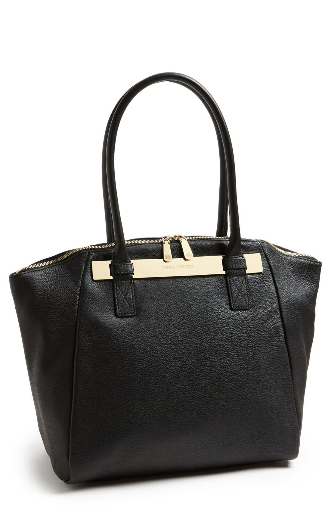 VINCE CAMUTO, 'Jace' Leather Tote, Main thumbnail 1, color, 002