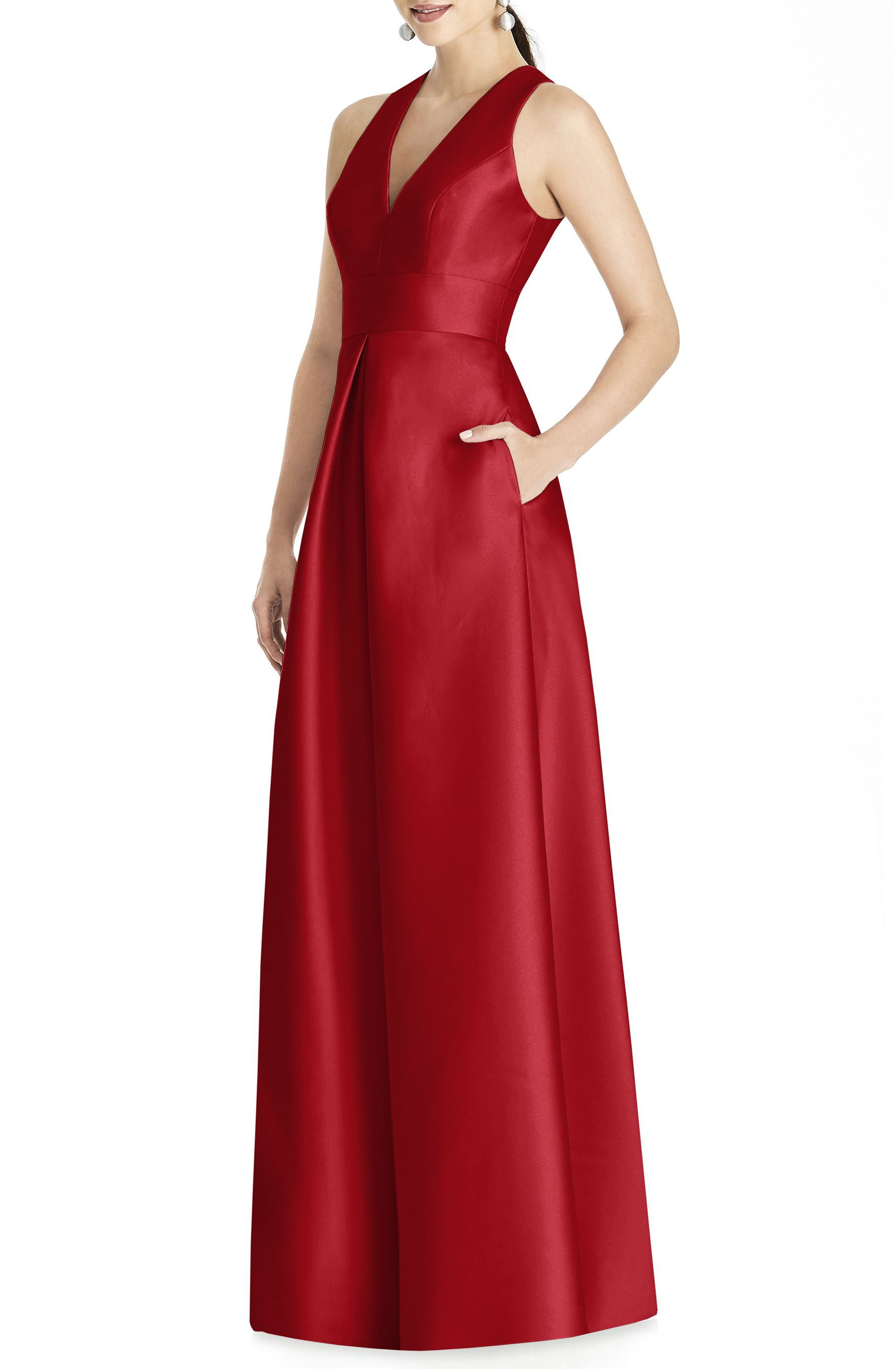 Alfred Sung Sleeveless Sateen Gown, Red