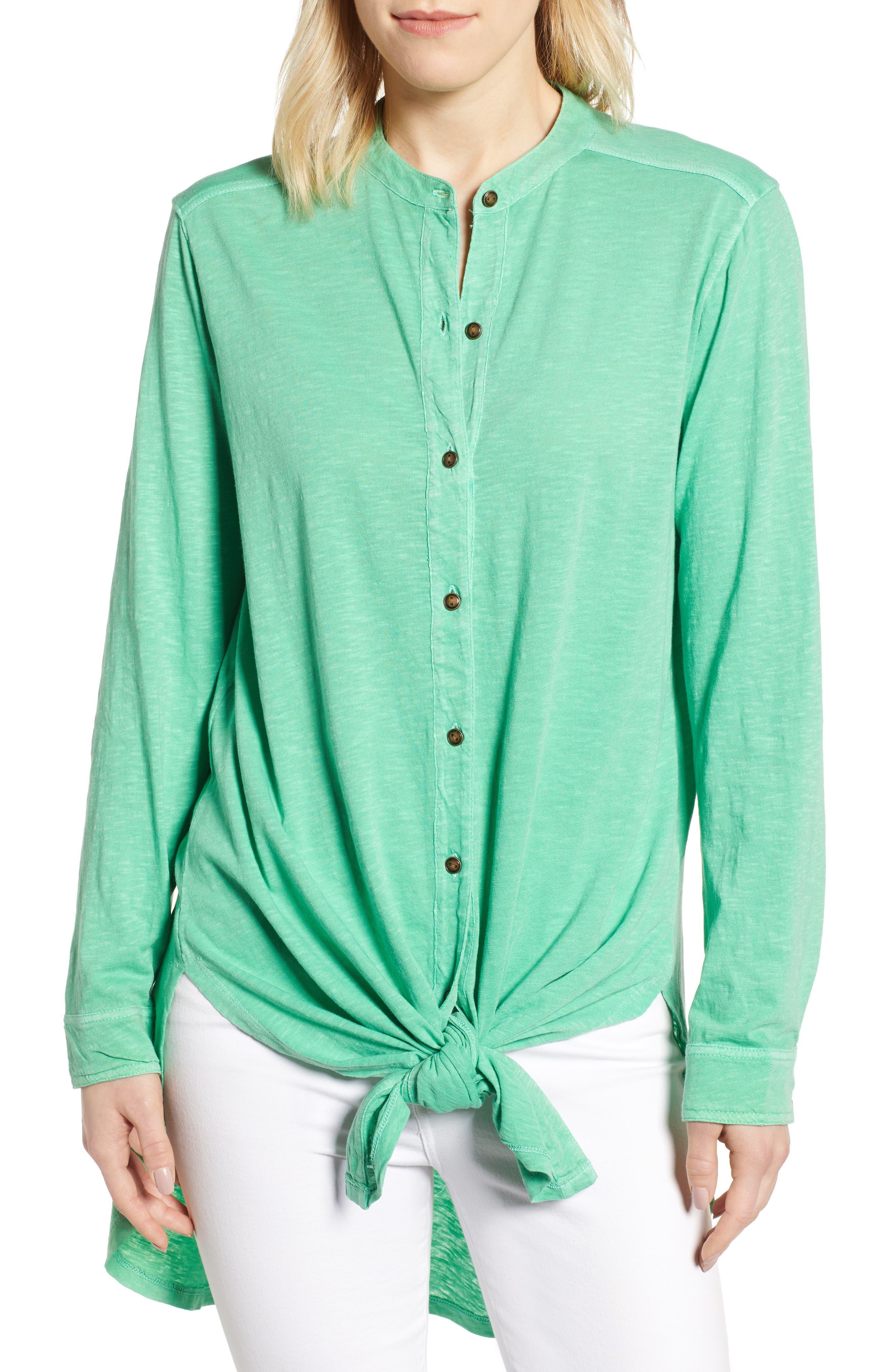 CASLON<SUP>®</SUP> Button Down Knit Tunic, Main, color, GREEN KATYDID