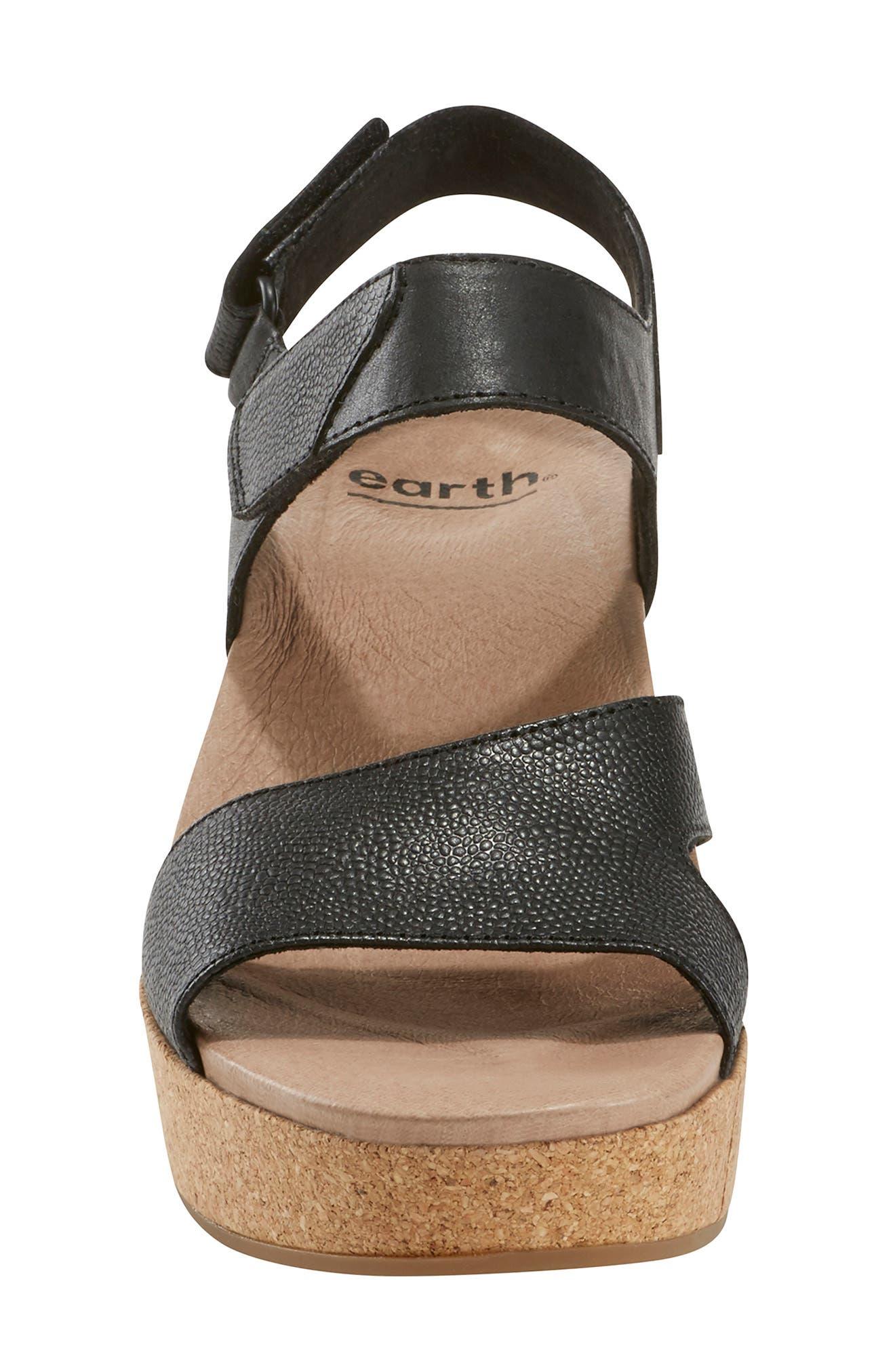 EARTH<SUP>®</SUP>, Kella Platform Sandal, Alternate thumbnail 4, color, BLACK LEATHER
