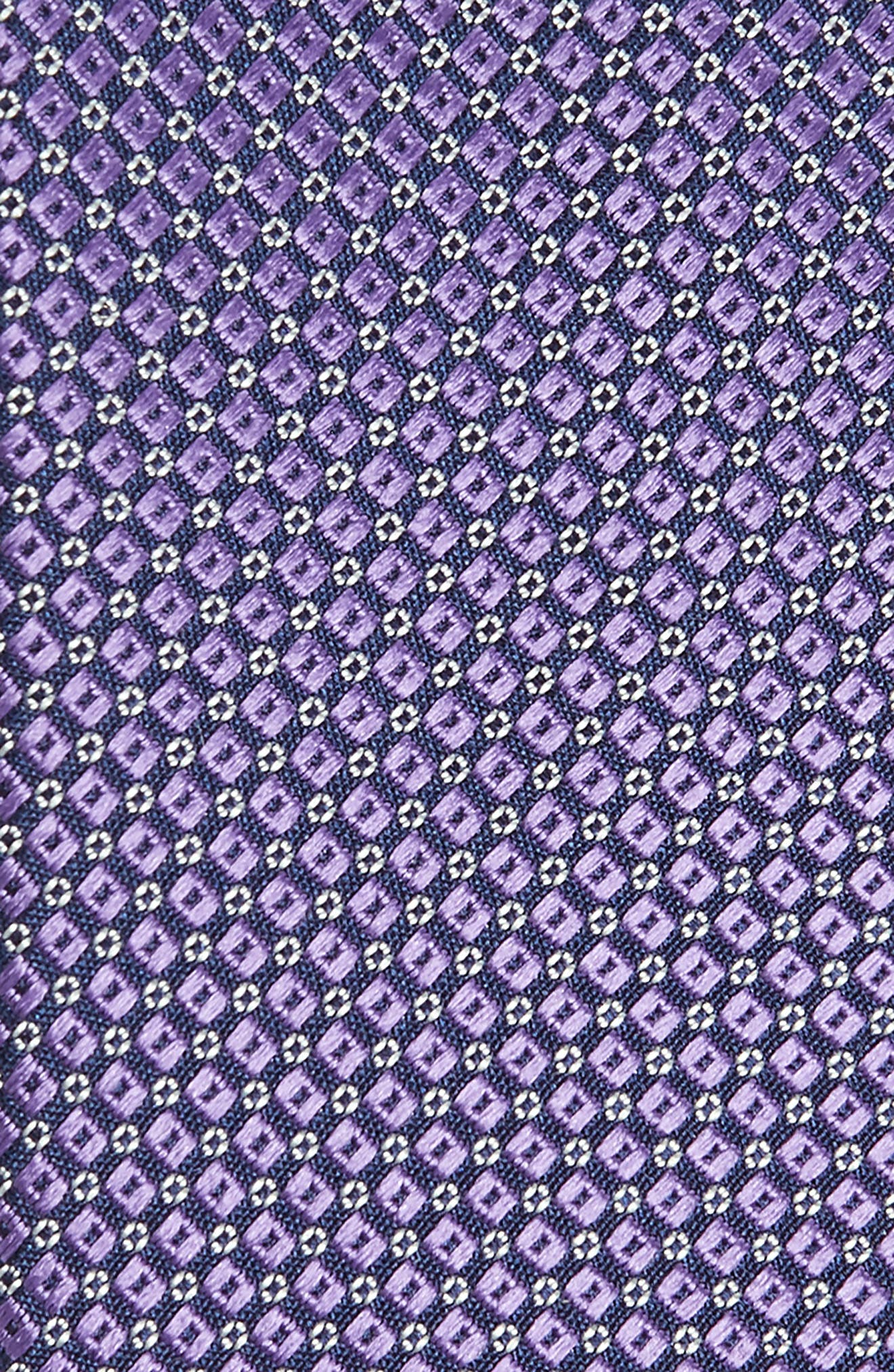 CANALI, Geometric Silk Tie, Alternate thumbnail 2, color, LIGHT PURPLE