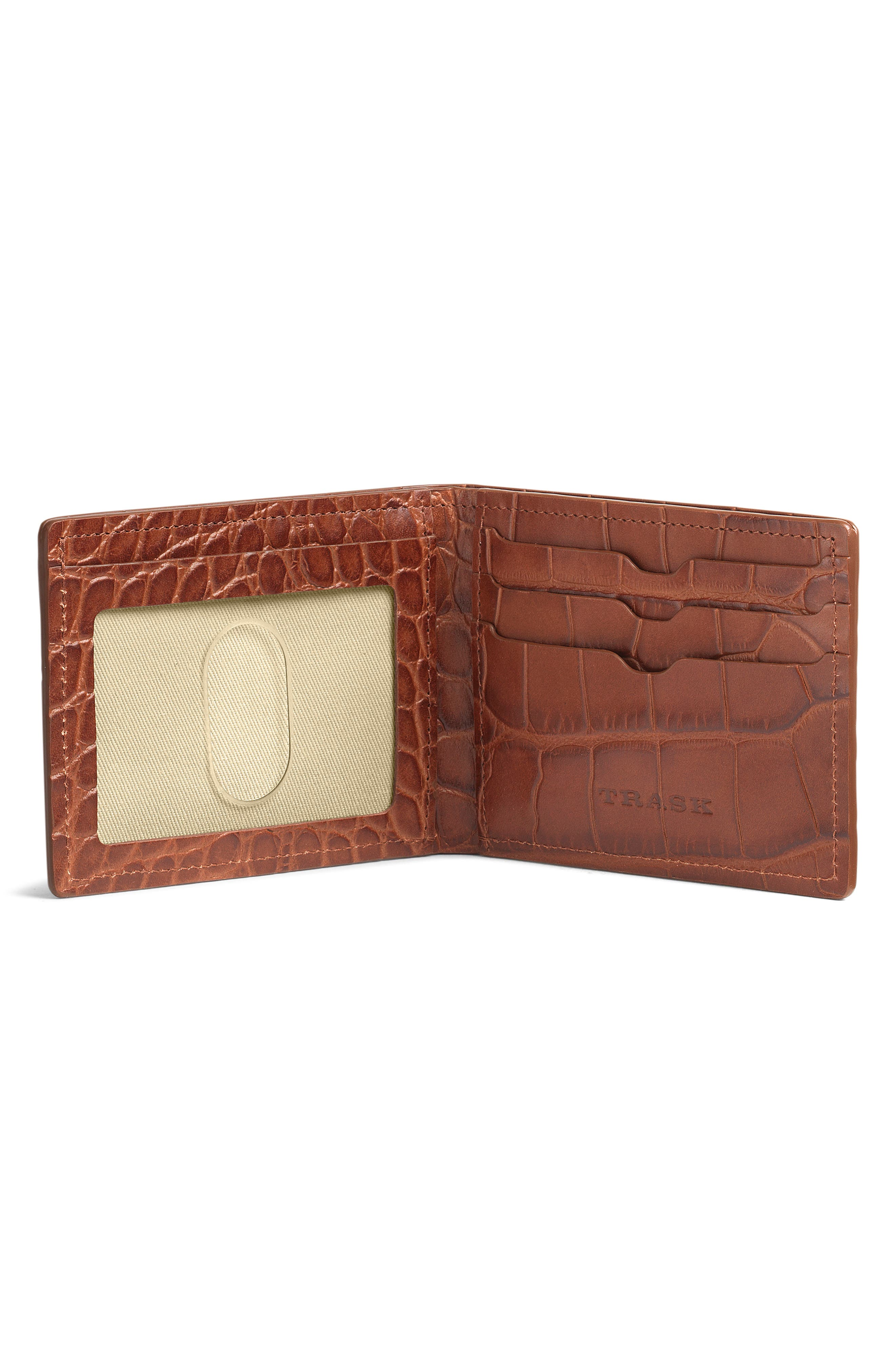 TRASK, 'Jackson' Super Slim Leather Wallet, Alternate thumbnail 4, color, SCOTCH