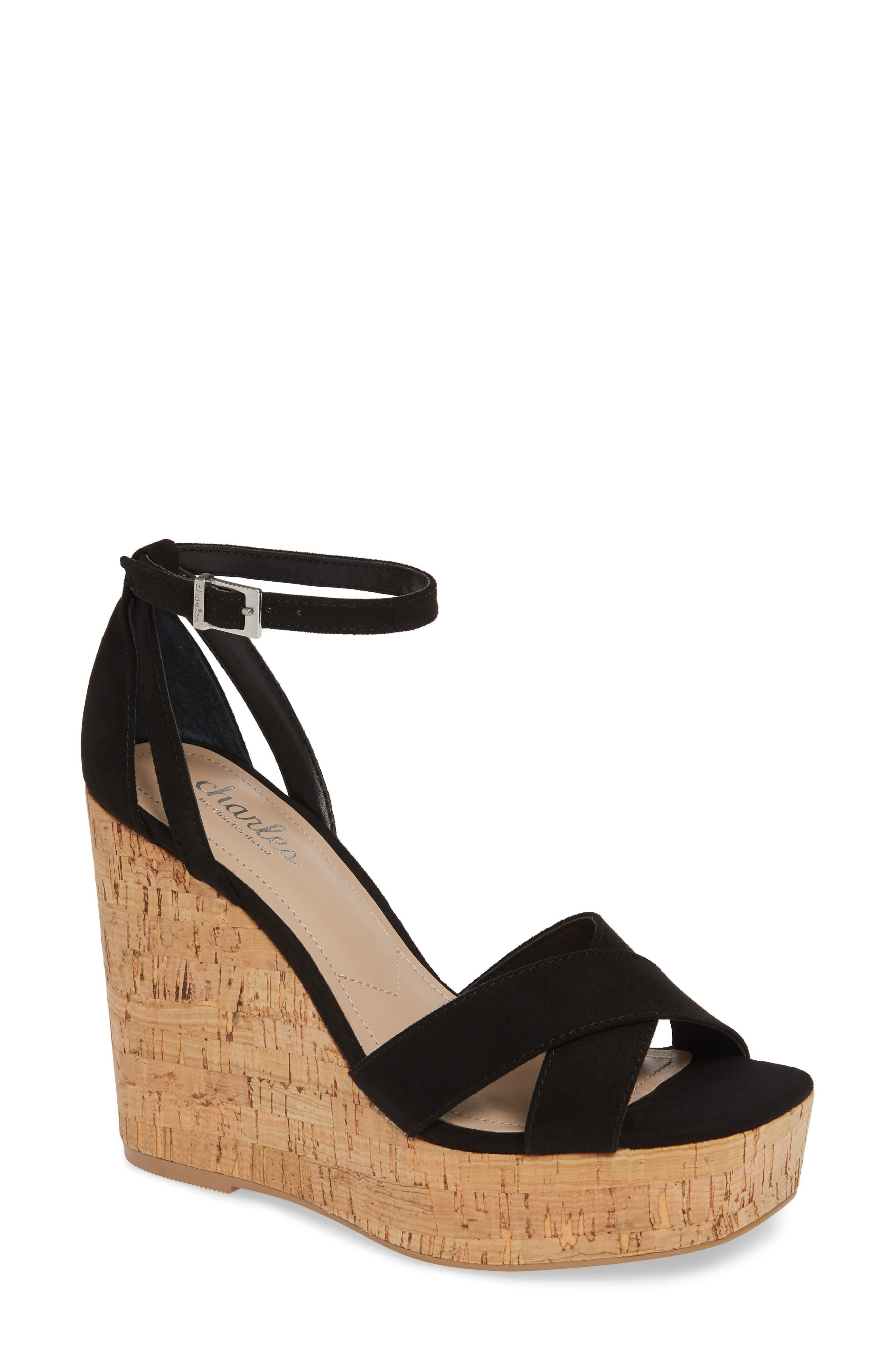 CHARLES BY CHARLES DAVID Dempsey Platform Wedge Sandal, Main, color, BLACK FABRIC