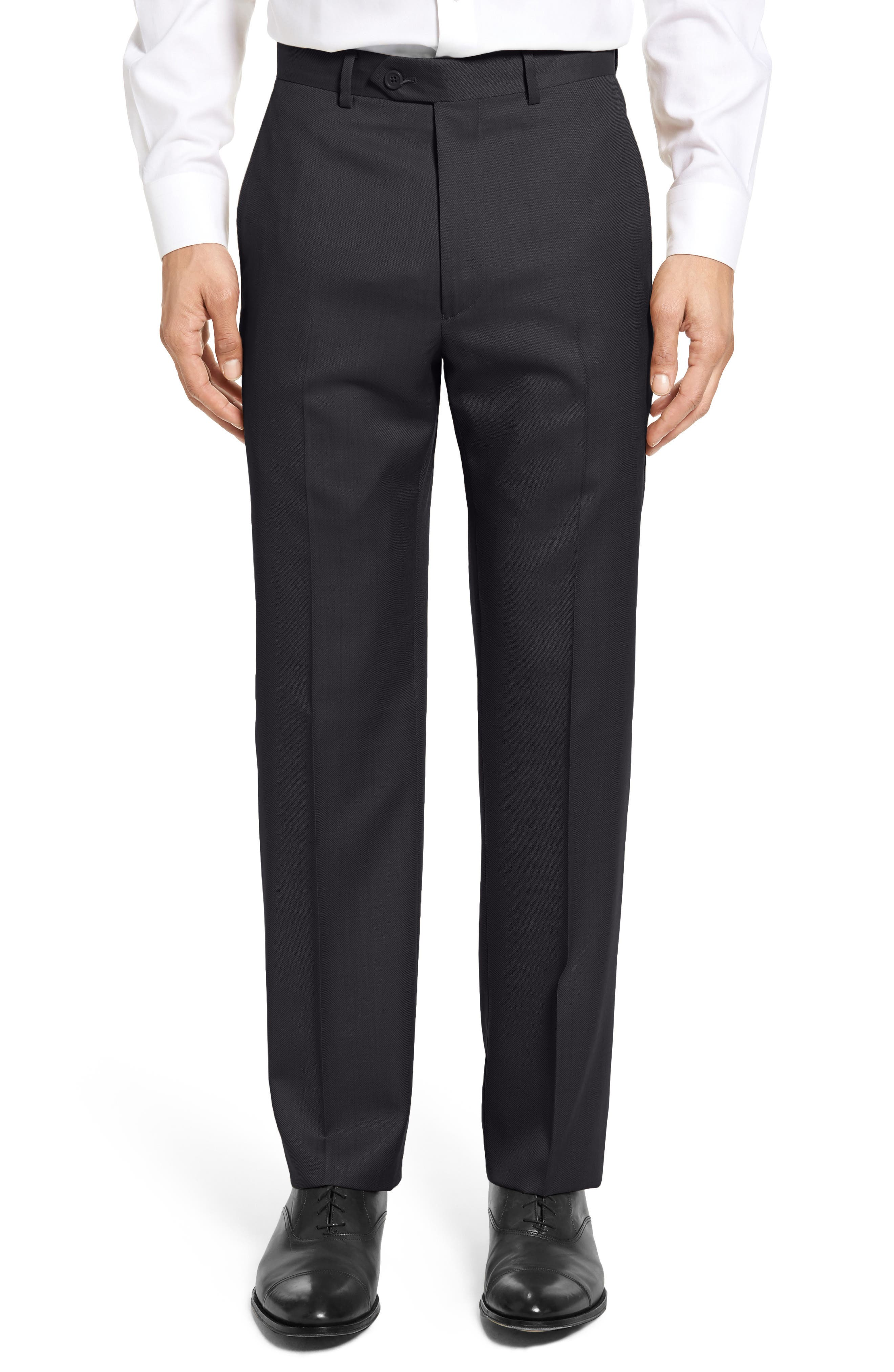 SANTORELLI Flat Front Twill Wool Trousers, Main, color, BLACK