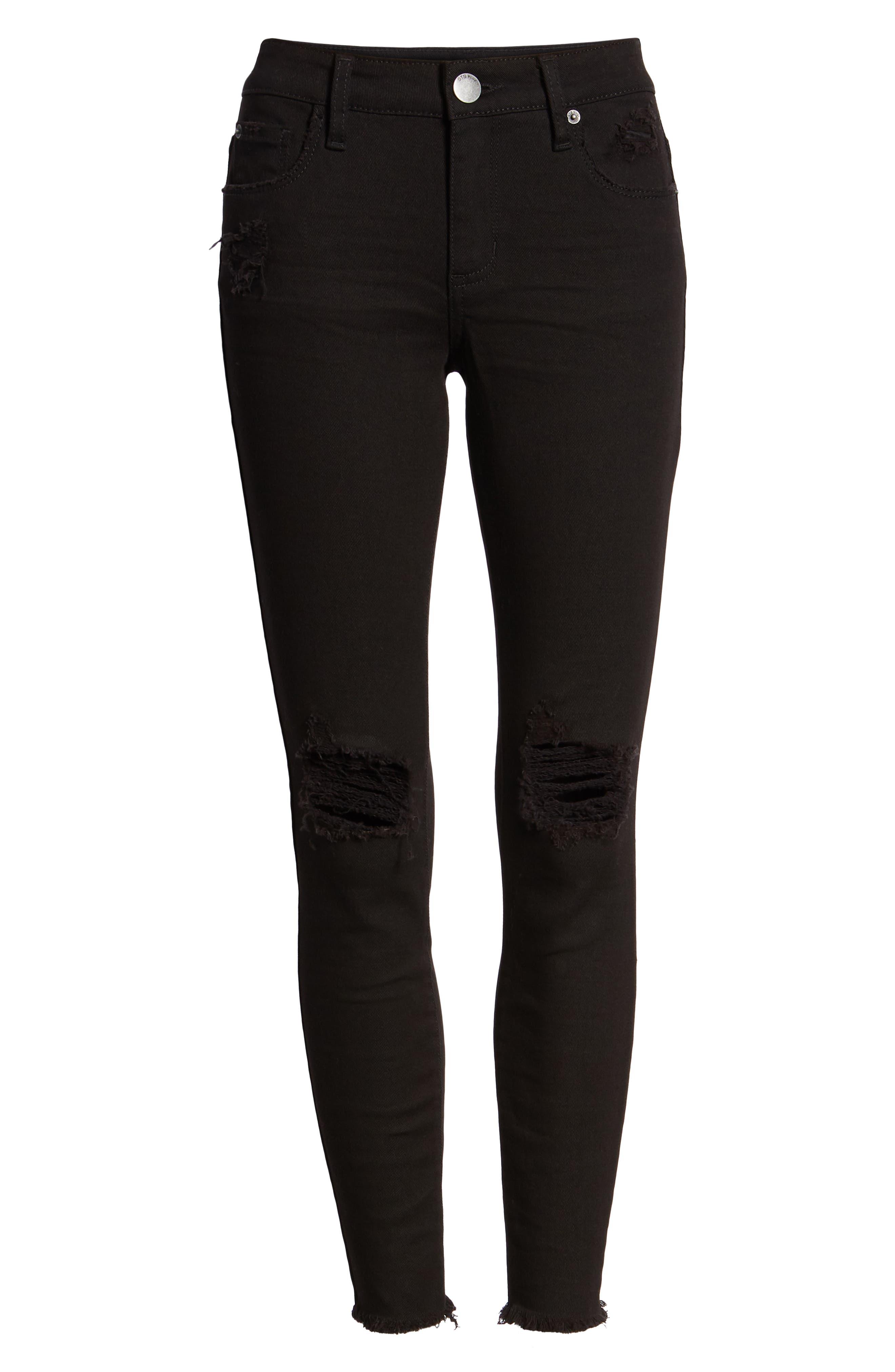 STS BLUE, Emma Ripped Fray Hem Skinny Jeans, Alternate thumbnail 7, color, 001