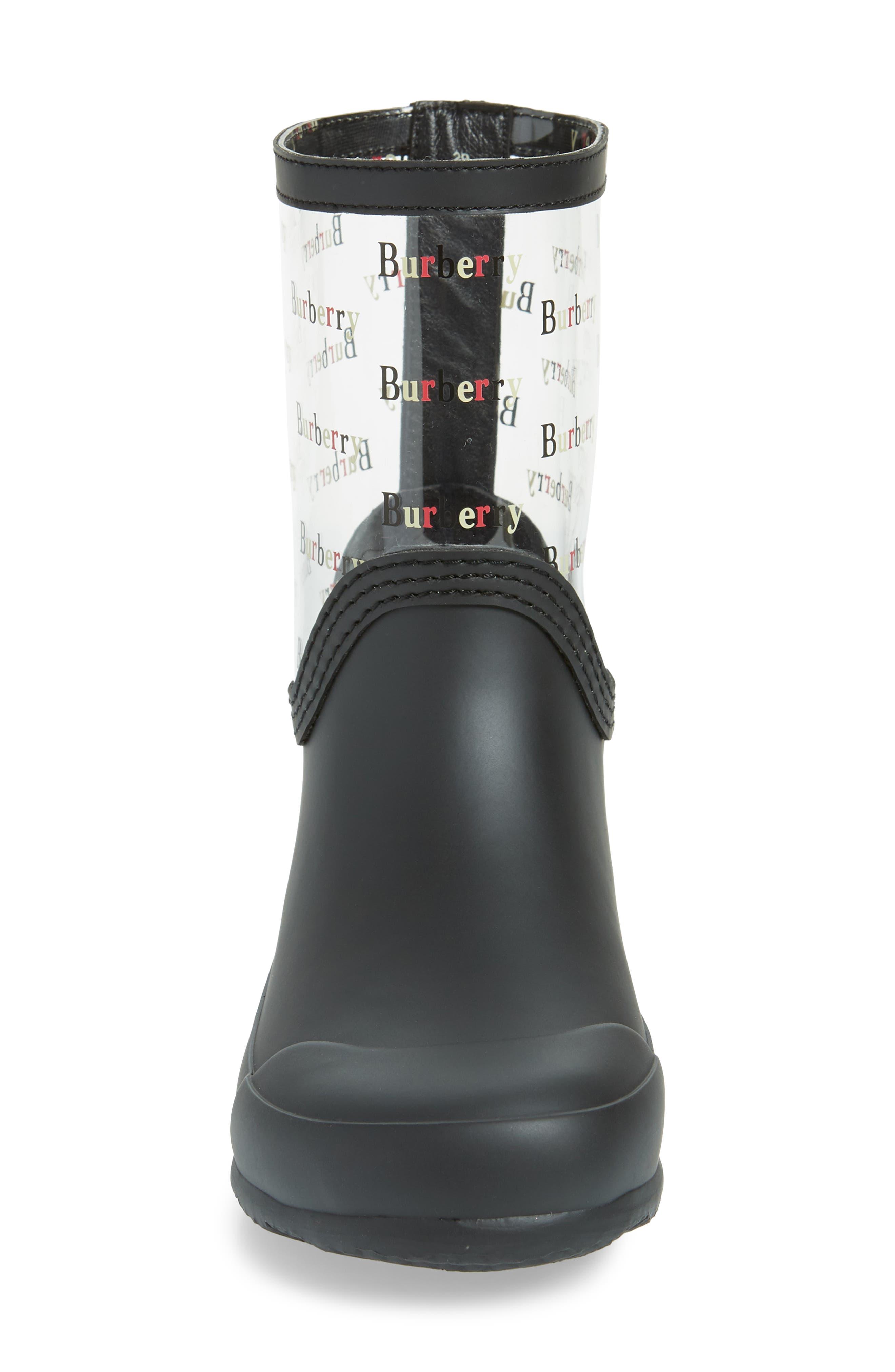 BURBERRY, Frosty Waterproof Rain Boot, Alternate thumbnail 4, color, BLACK