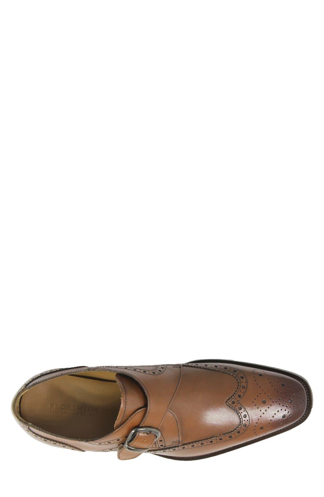 FLORSHEIM, 'Sabato' Wingtip Monk Strap Shoe, Alternate thumbnail 3, color, MEDIUM BROWN