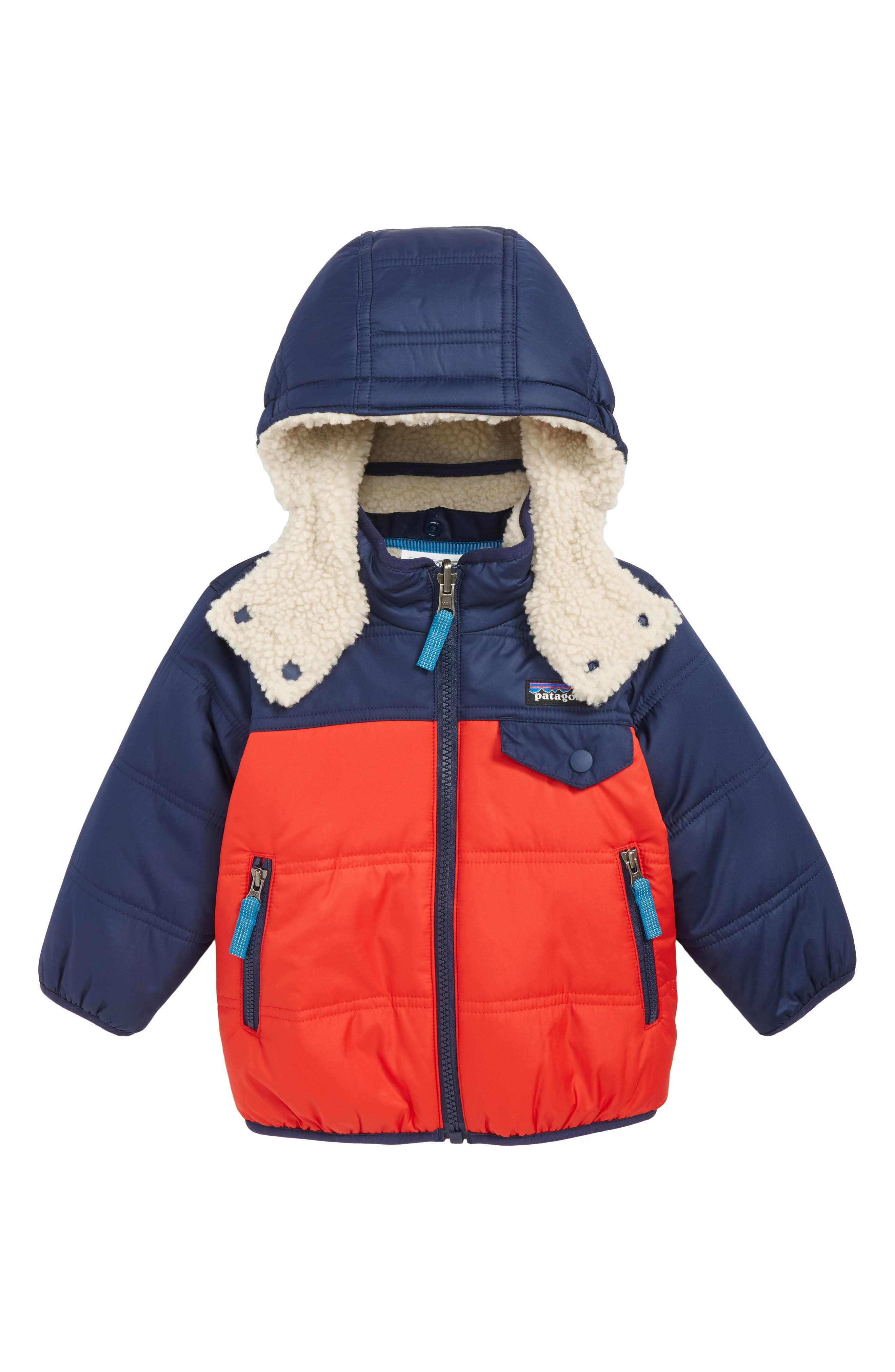 PATAGONIA, 'Tribbles' Reversible Hoodie, Main thumbnail 1, color, FRE FIRE