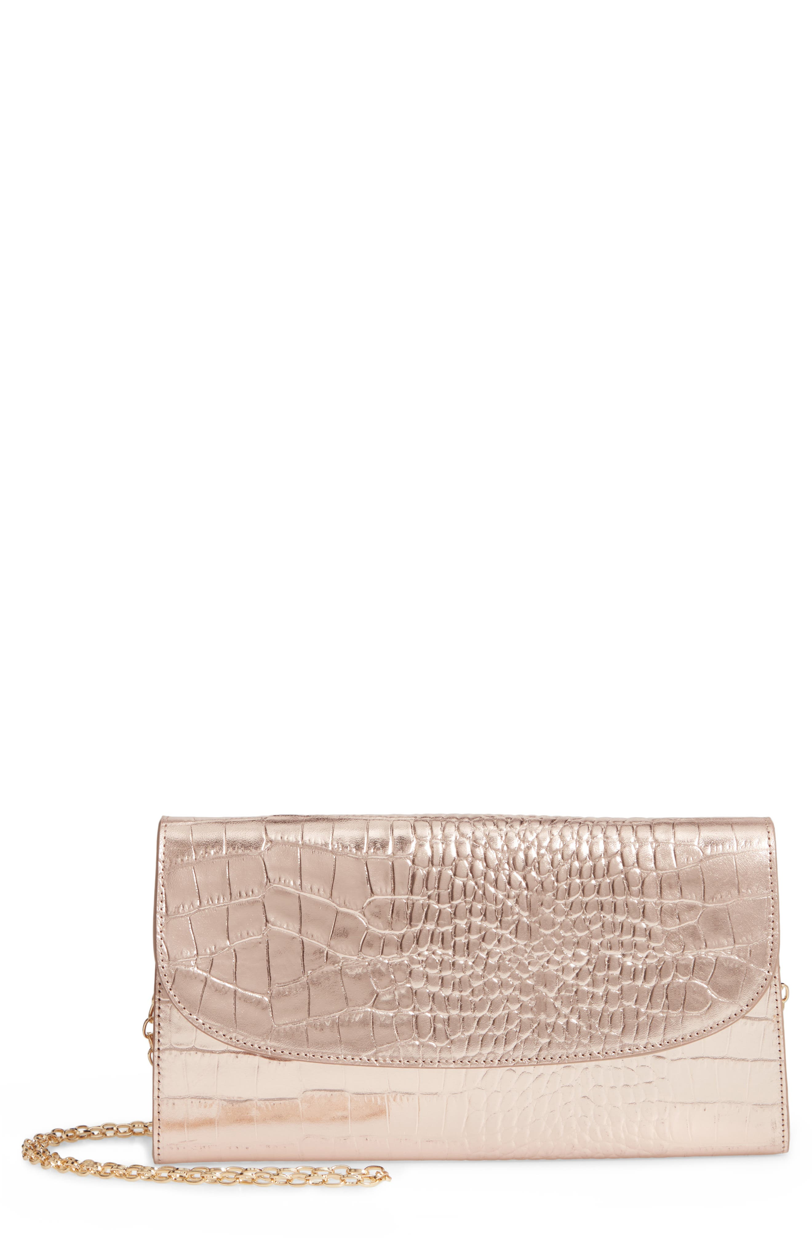 NORDSTROM, Croc Embossed Metallic Leather Clutch, Main thumbnail 1, color, 660