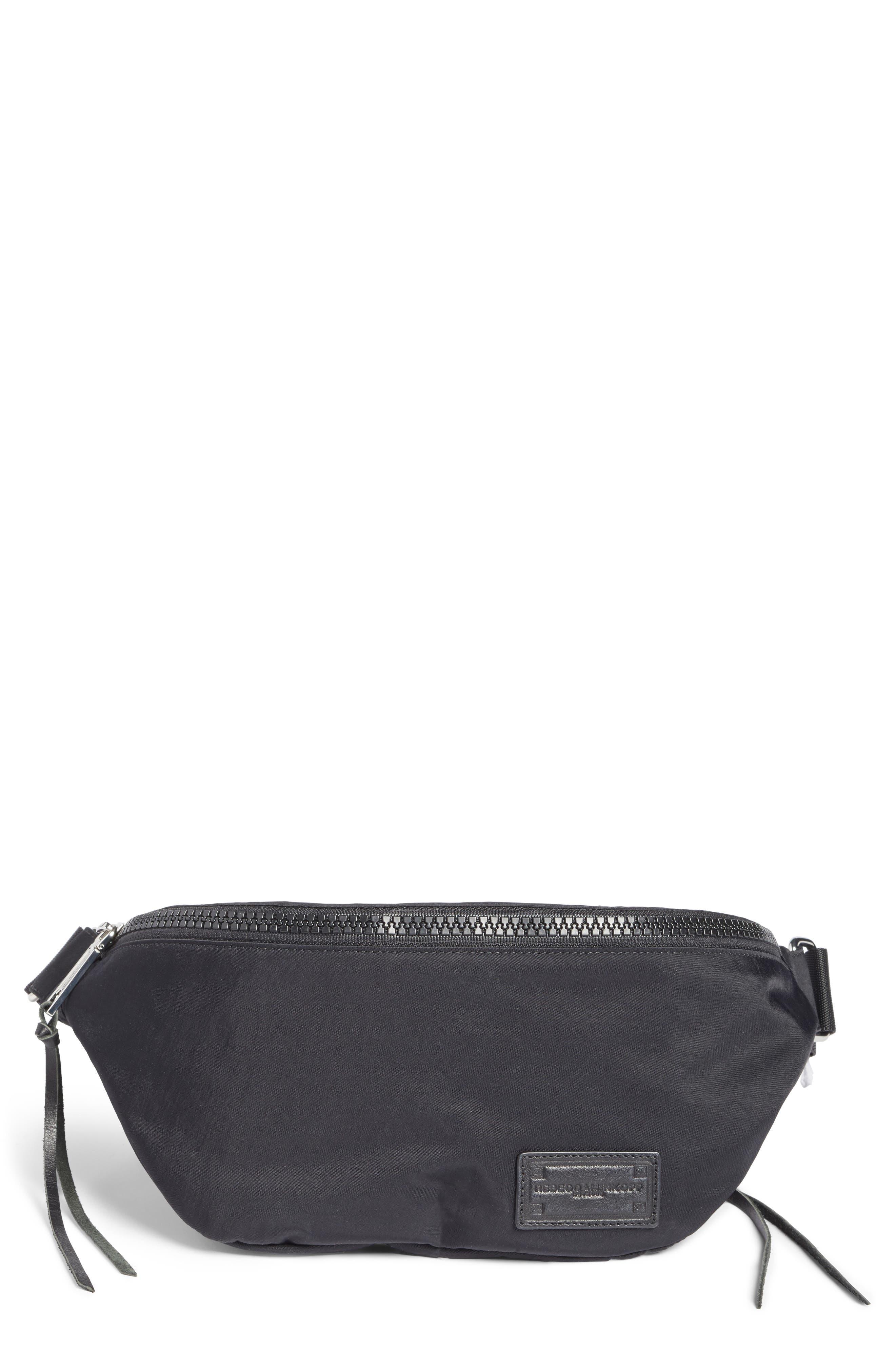 REBECCA MINKOFF Nylon Belt Bag, Main, color, BLACK