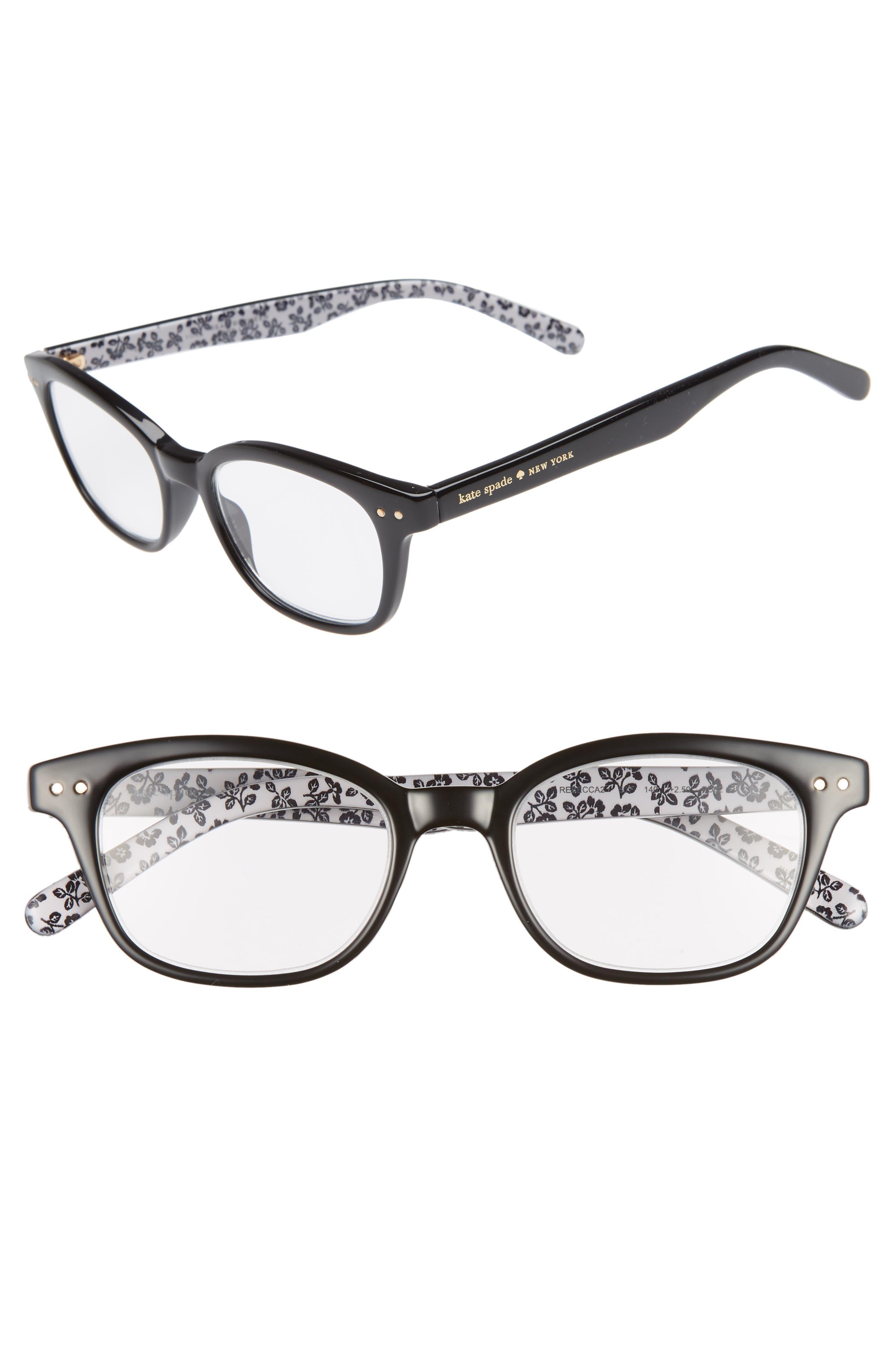 KATE SPADE NEW YORK rebecca 47mm reading glasses, Main, color, BLACK