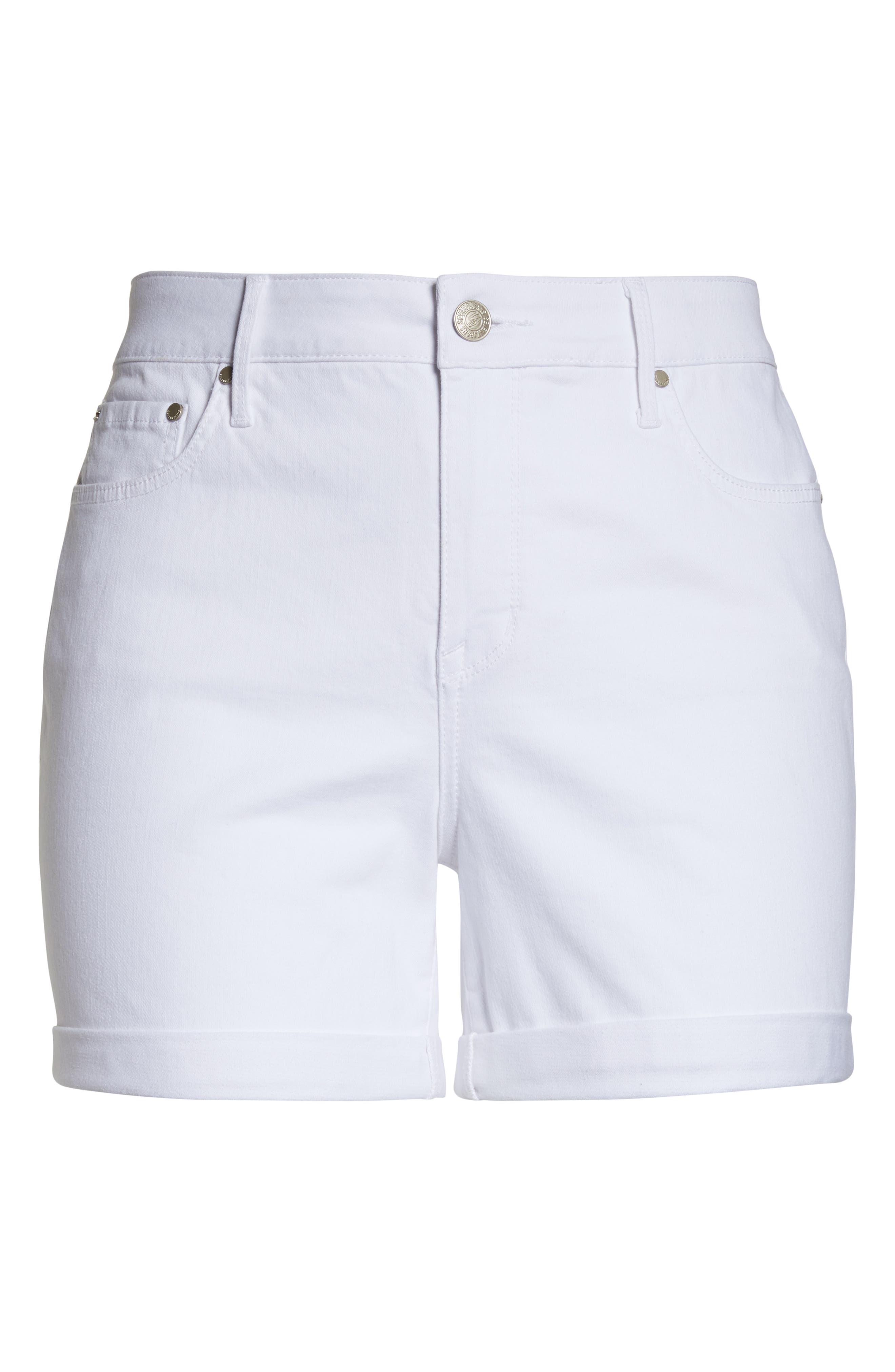 SEVEN7, High Waist Stretch Denim Shorts, Alternate thumbnail 7, color, BLANC DE BLANC
