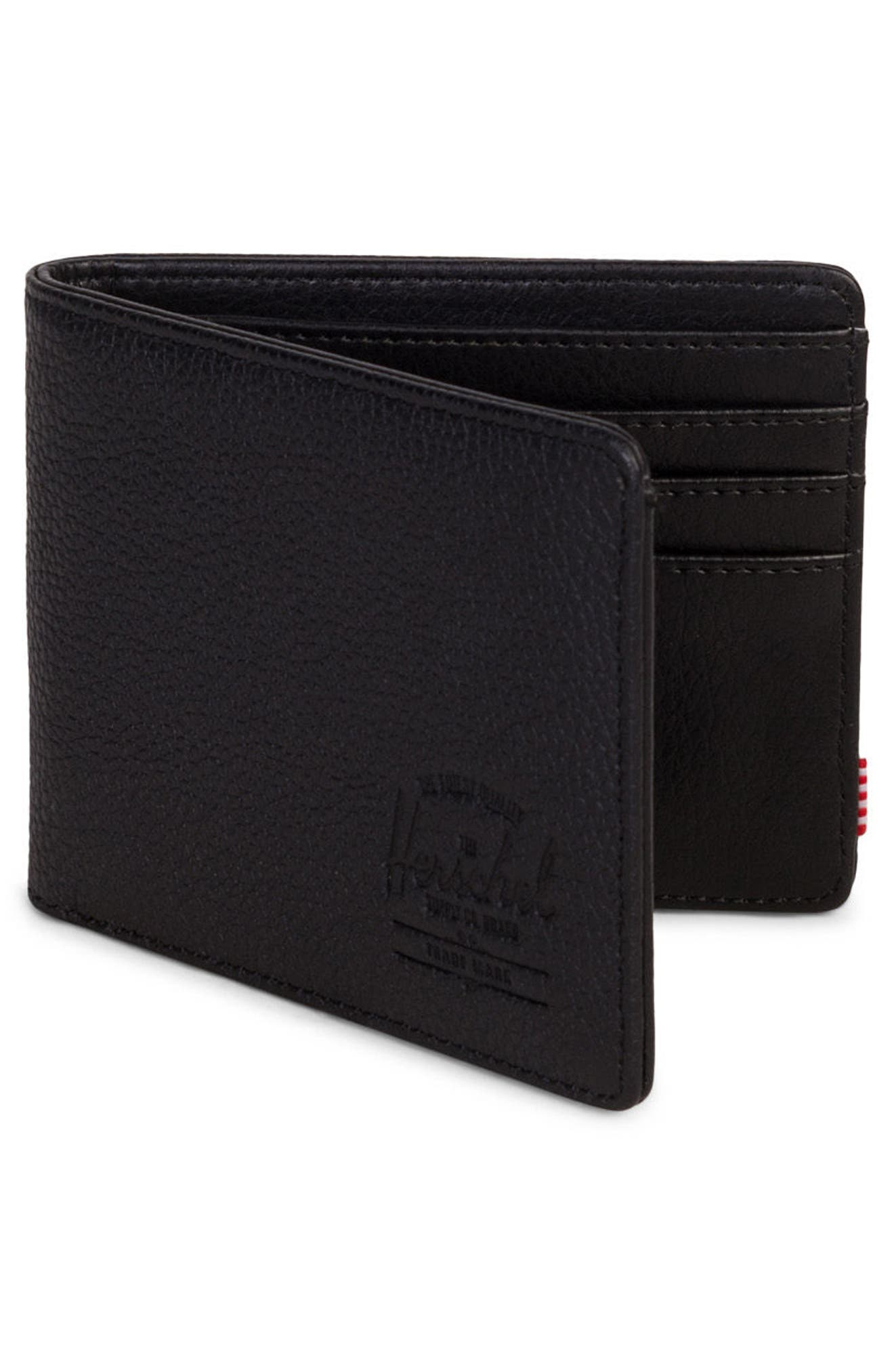 HERSCHEL SUPPLY CO., Hank Leather Wallet, Alternate thumbnail 3, color, BLACK PEBBLED LEATHER