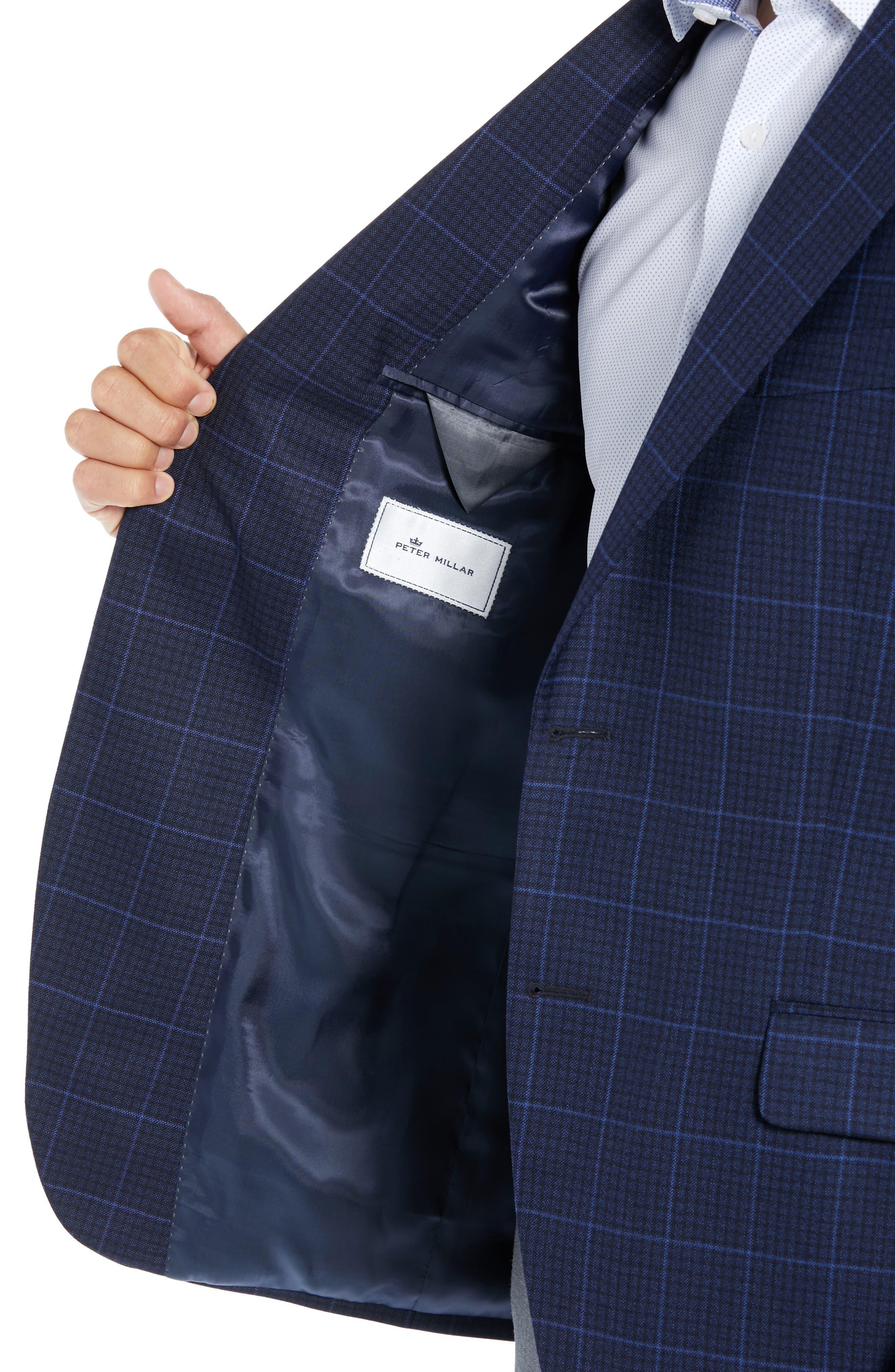 PETER MILLAR, Flynn Classic Fit Plaid Check Sport Coat, Alternate thumbnail 4, color, NAVY
