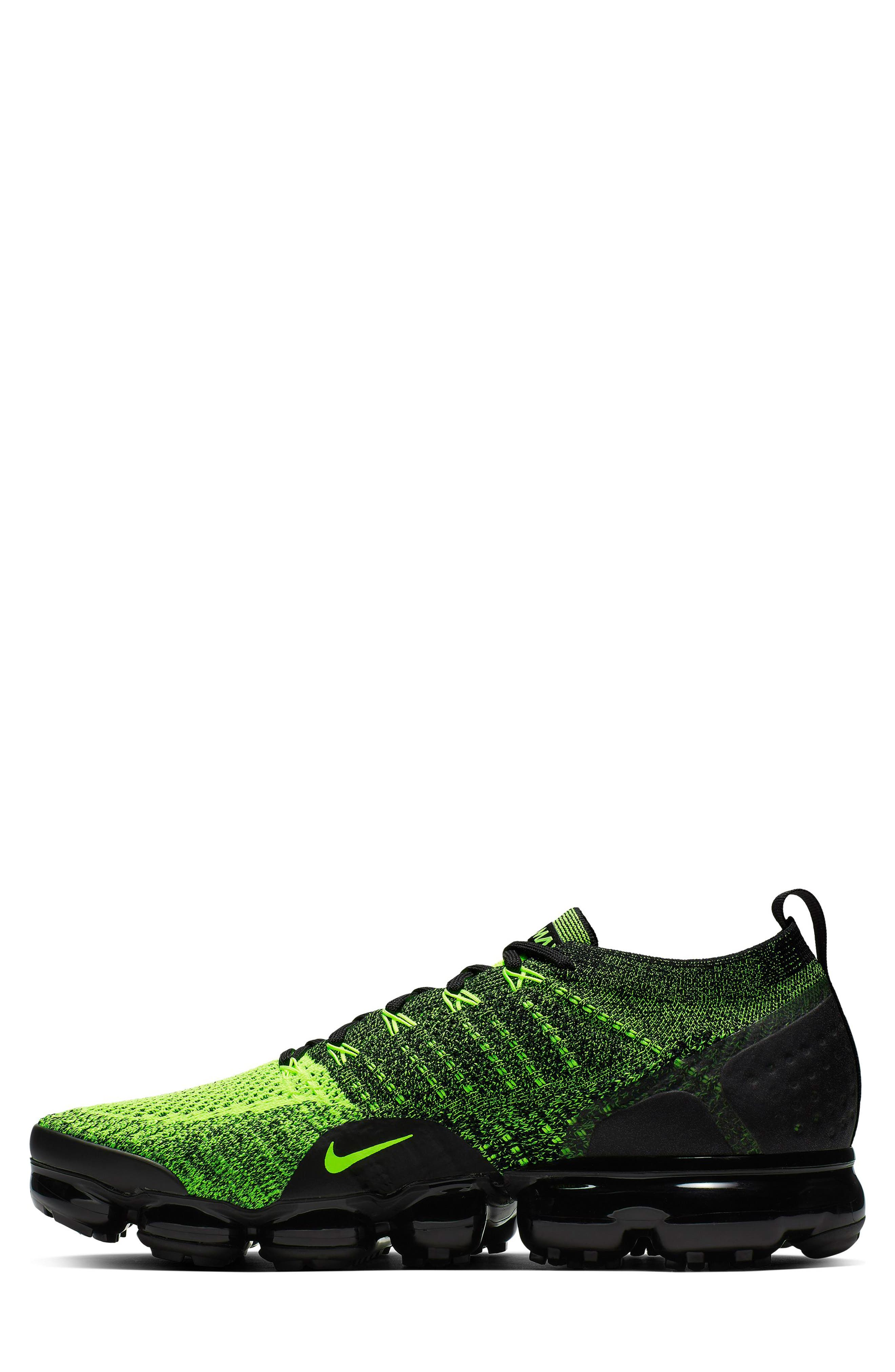 NIKE, Air VaporMax Flyknit 2 Running Shoe, Alternate thumbnail 3, color, VOLT/ BLACK/ VOLT