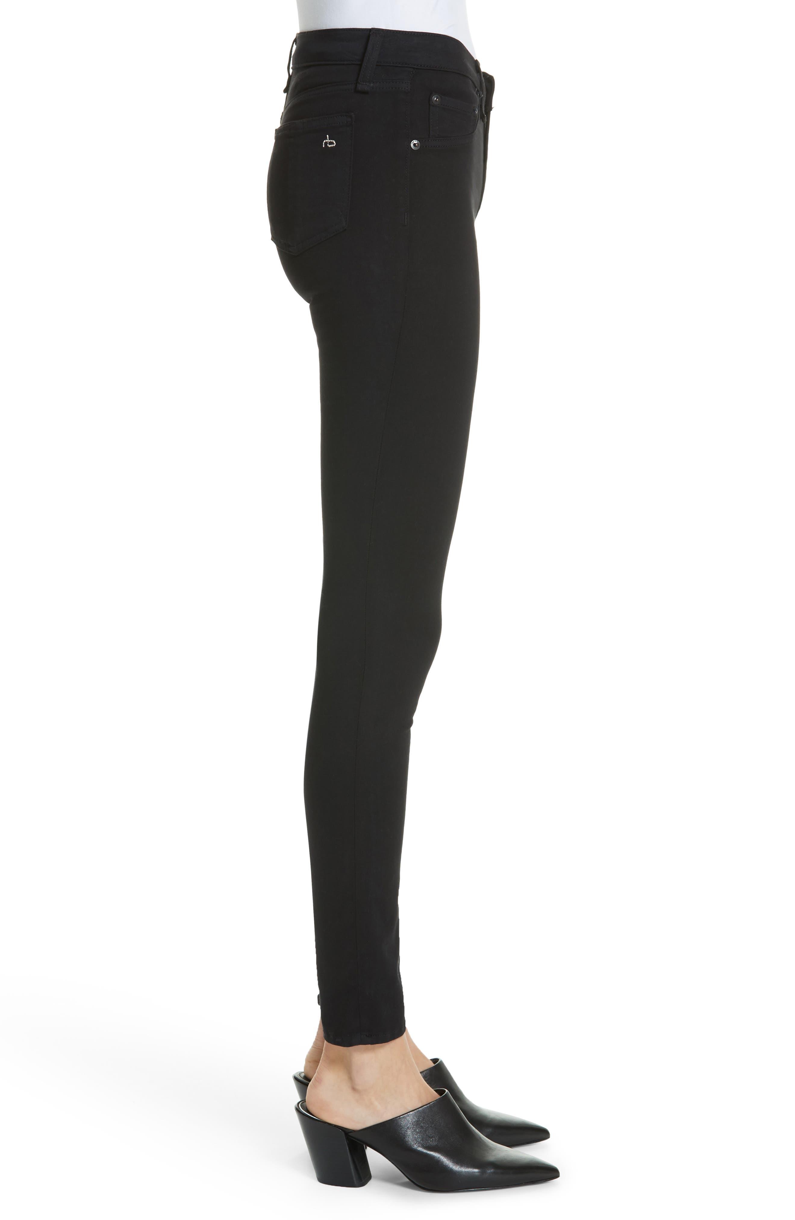 RAG & BONE, High Waist Ankle Skinny Jeans, Alternate thumbnail 4, color, BLACK