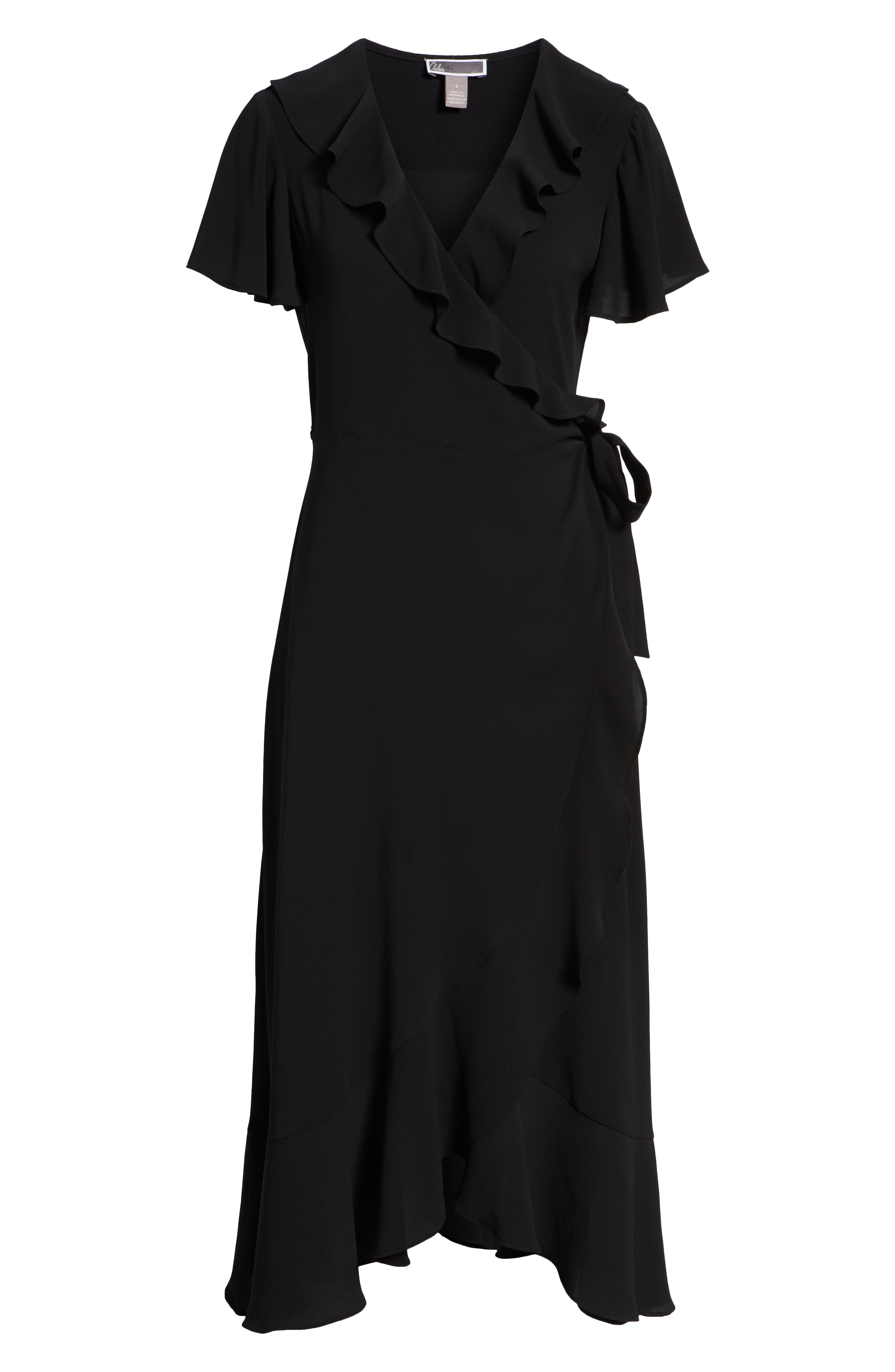 CHELSEA28, Ruffle Wrap Dress, Alternate thumbnail 7, color, BLACK
