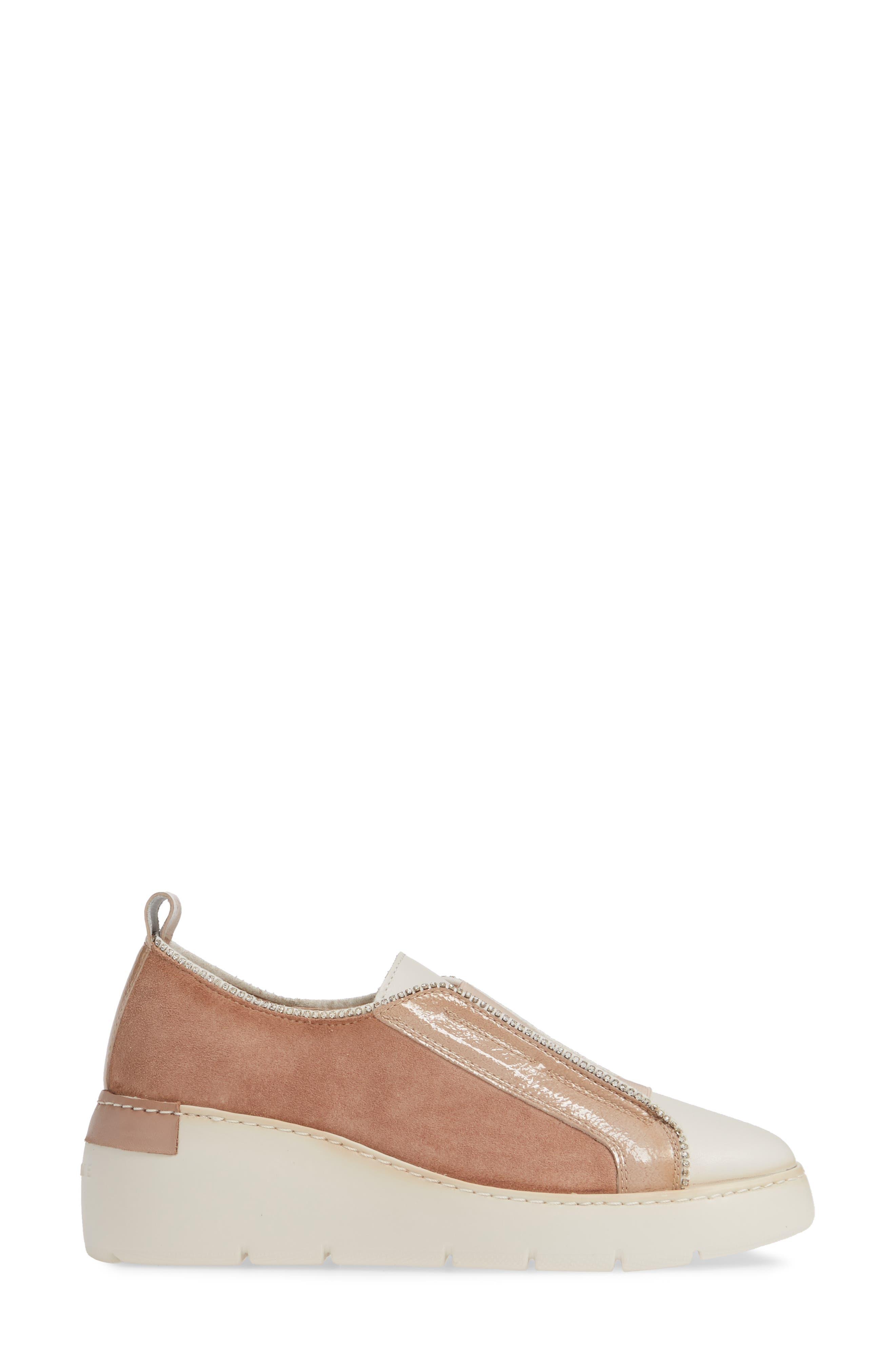 HISPANITAS, Benton Slip-On Wedge Sneaker, Alternate thumbnail 3, color, VELOUR FLESH LEATHER