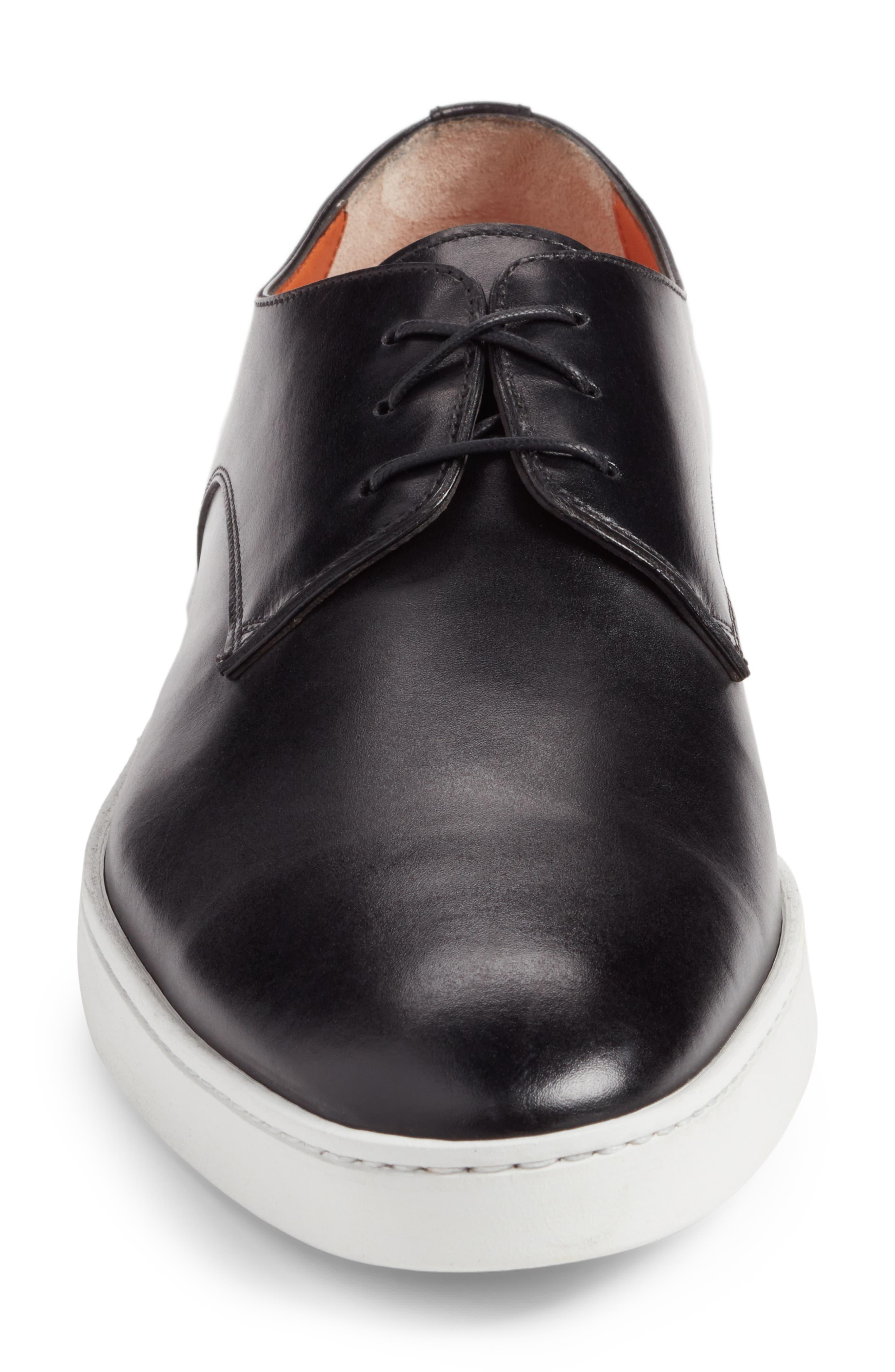 SANTONI, Doyle Sneaker, Alternate thumbnail 4, color, BLACK LEATHER
