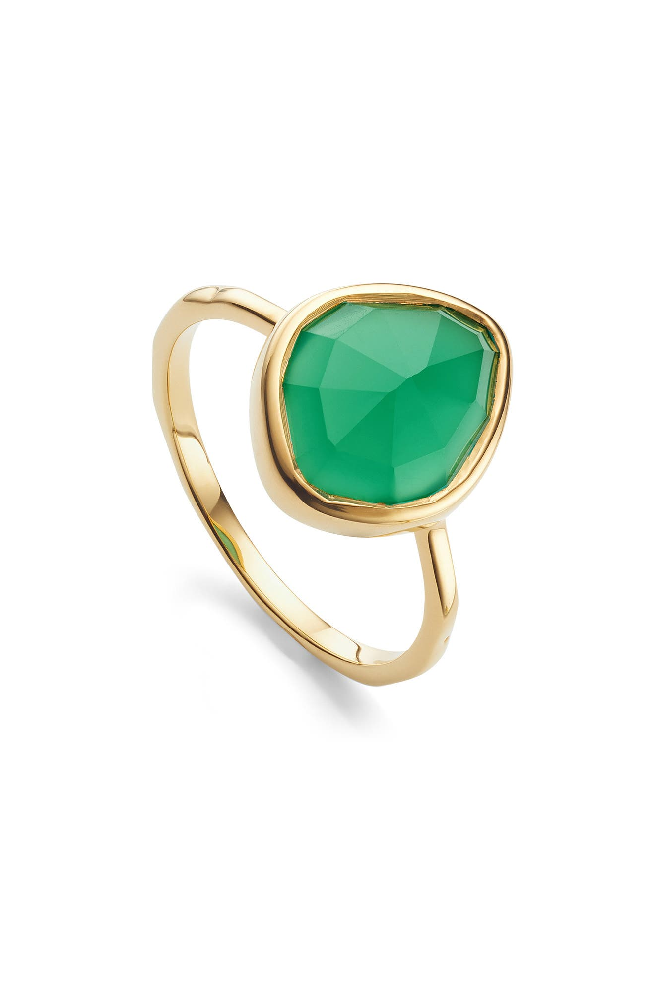 MONICA VINADER, Siren Small Nugget Stacking Ring, Main thumbnail 1, color, GOLD/ GREEN ONYX