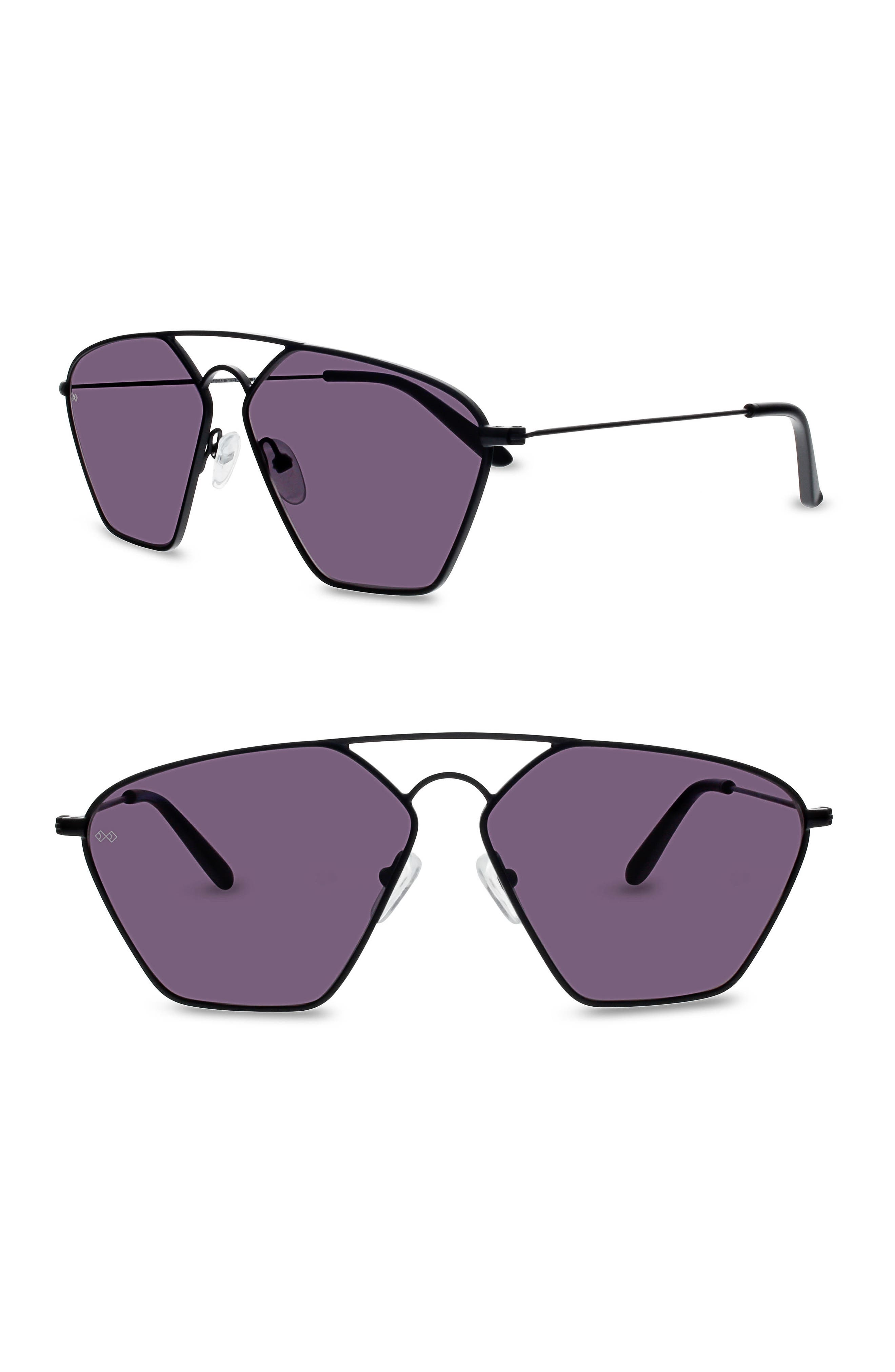 SMOKE X MIRRORS, Geo III 56mm Sunglasses, Main thumbnail 1, color, 001