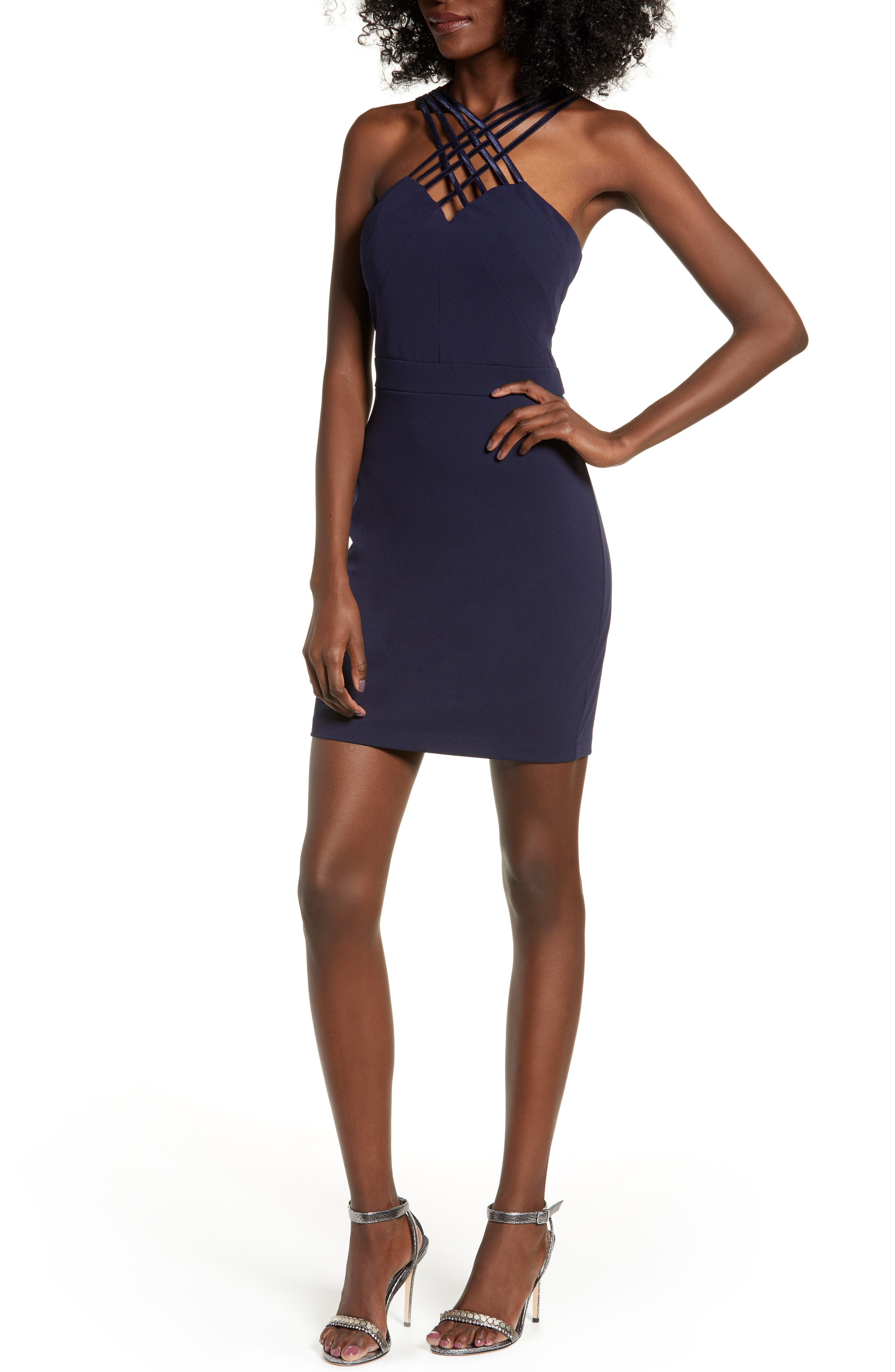 LOVE, NICKIE LEW Lattice Strap Body-Con Dress, Main, color, 400