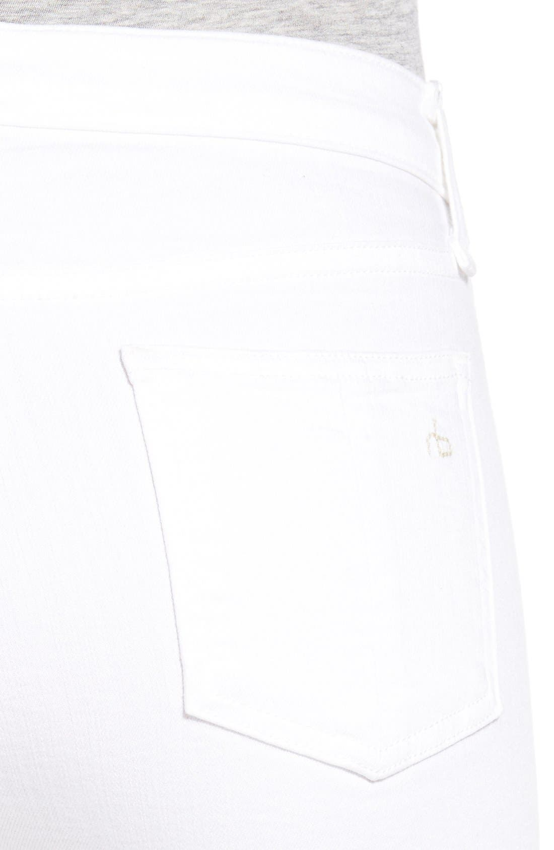 RAG & BONE, High Rise Raw Hem Crop Flare Jeans, Alternate thumbnail 4, color, BRIGHT WHITE