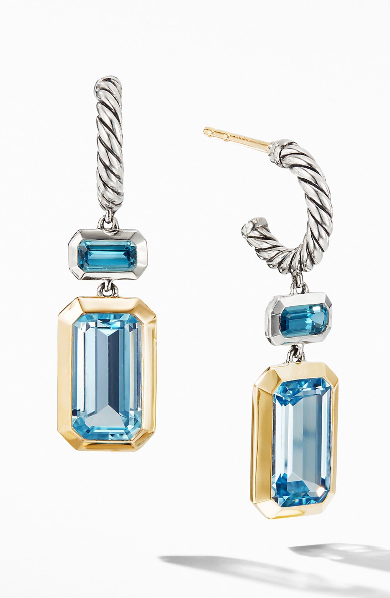 DAVID YURMAN, Novella Drop Earrings with 18K Yellow Gold, Main thumbnail 1, color, SKY BLUE TOPAZ