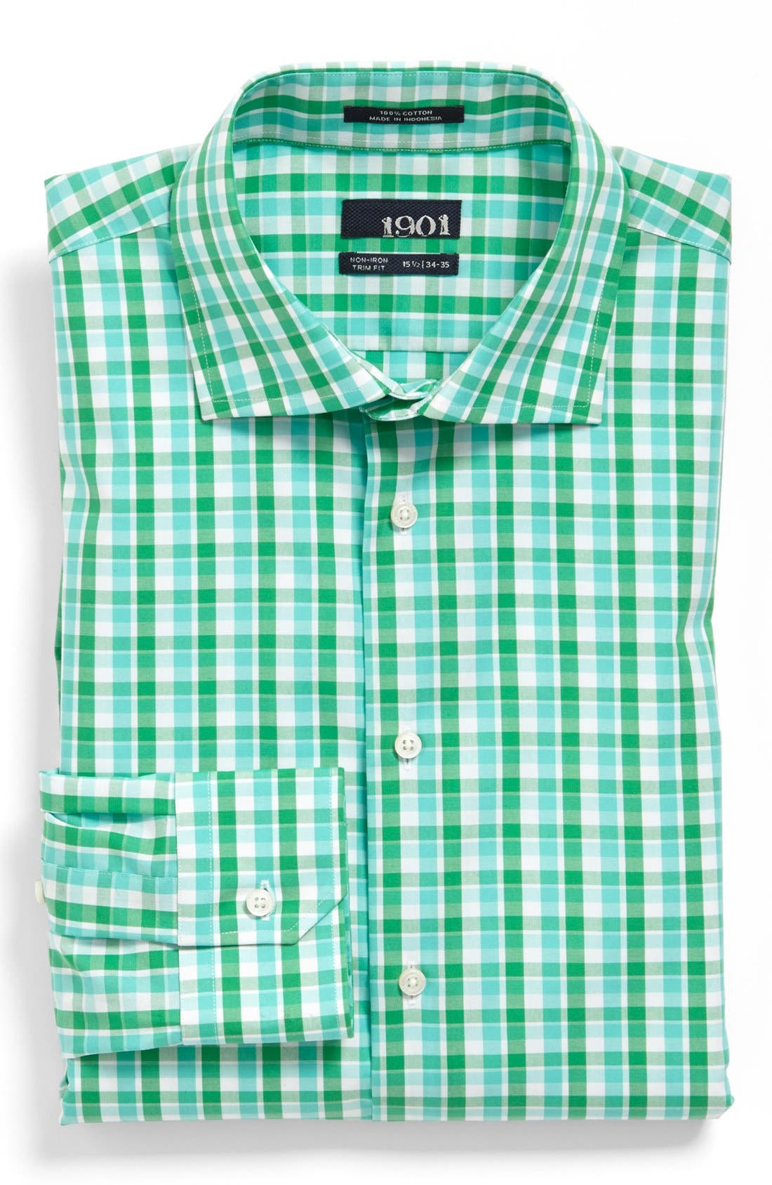 1901 Trim Fit Non-Iron Check Dress Shirt, Main, color, 300