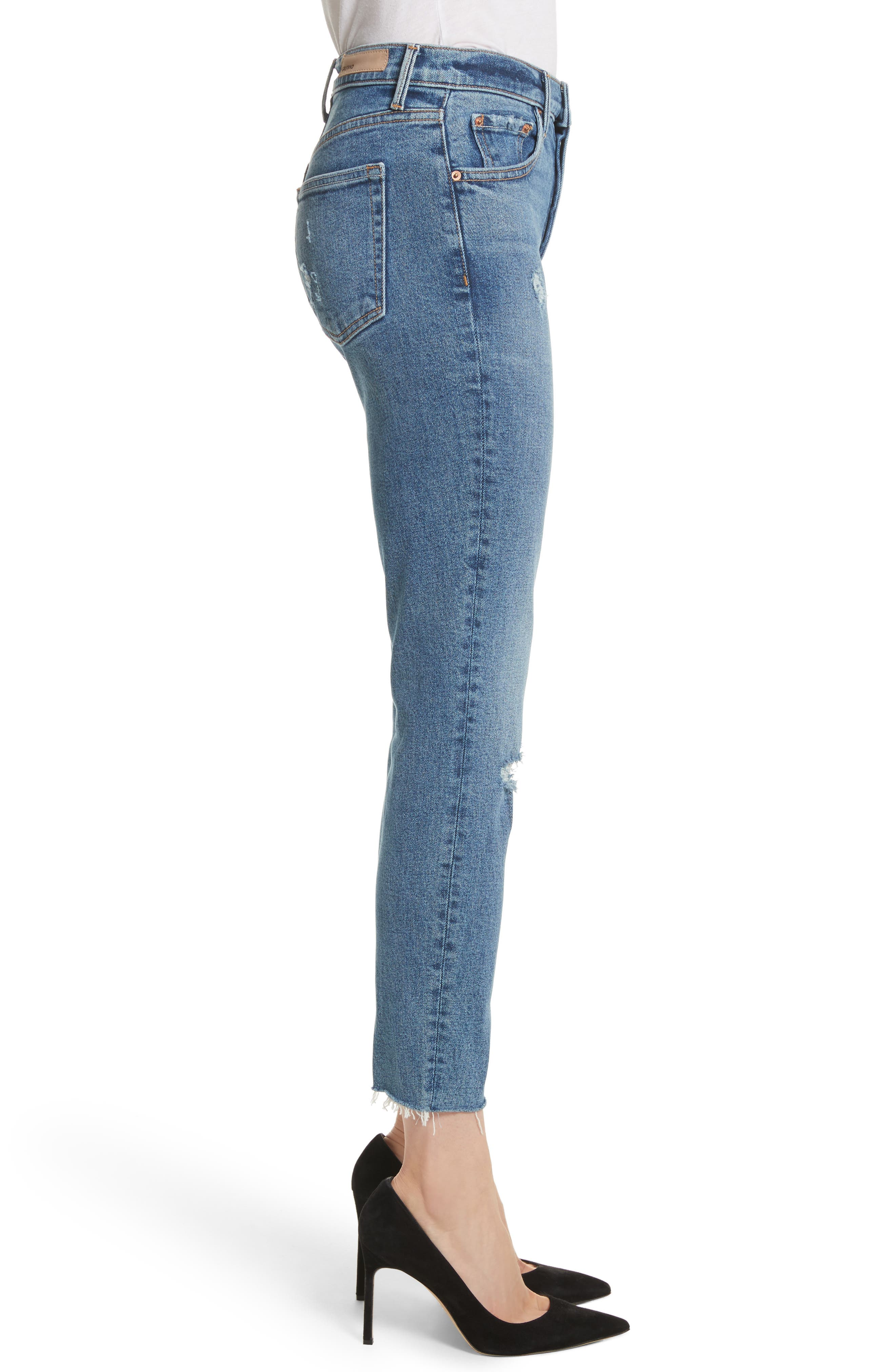 GRLFRND, Karolina High Waist Skinny Jeans, Alternate thumbnail 4, color, SIXPENCE