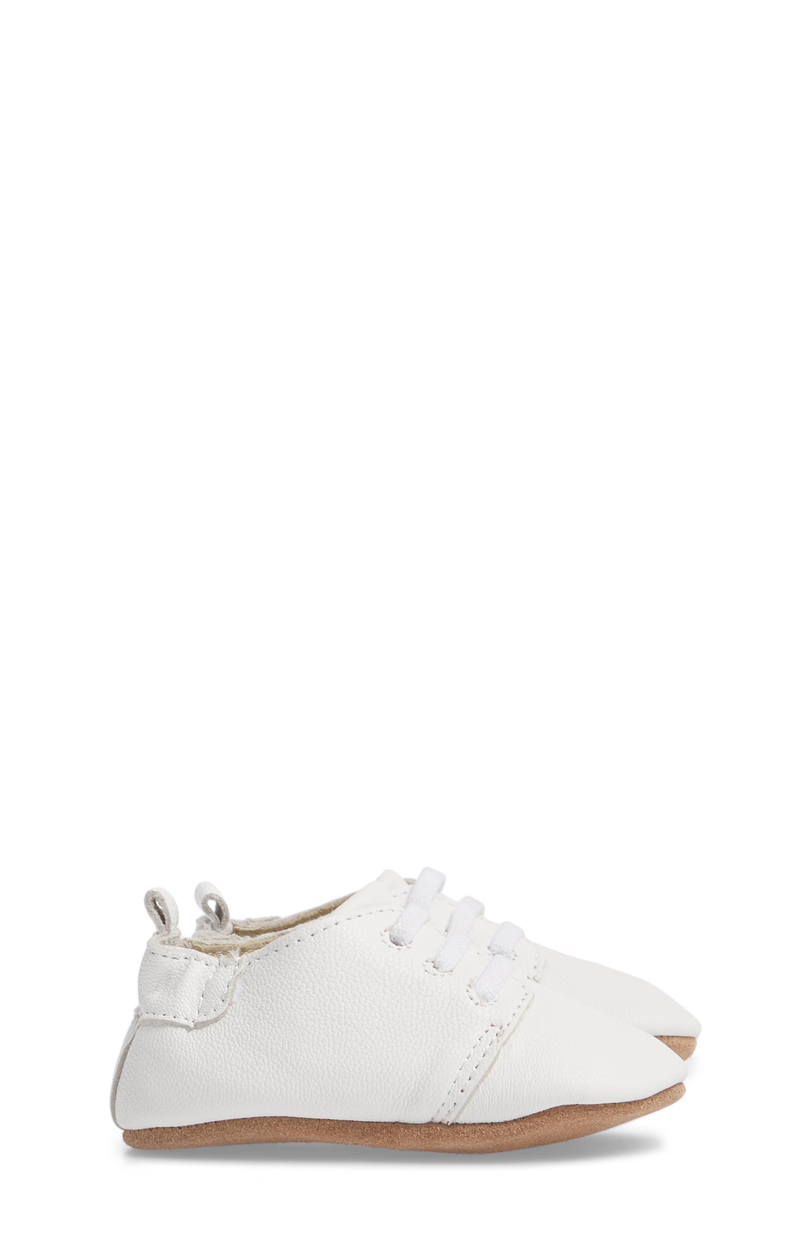 ROBEEZ<SUP>®</SUP>, Owen Oxford Crib Shoe, Alternate thumbnail 3, color, WHITE