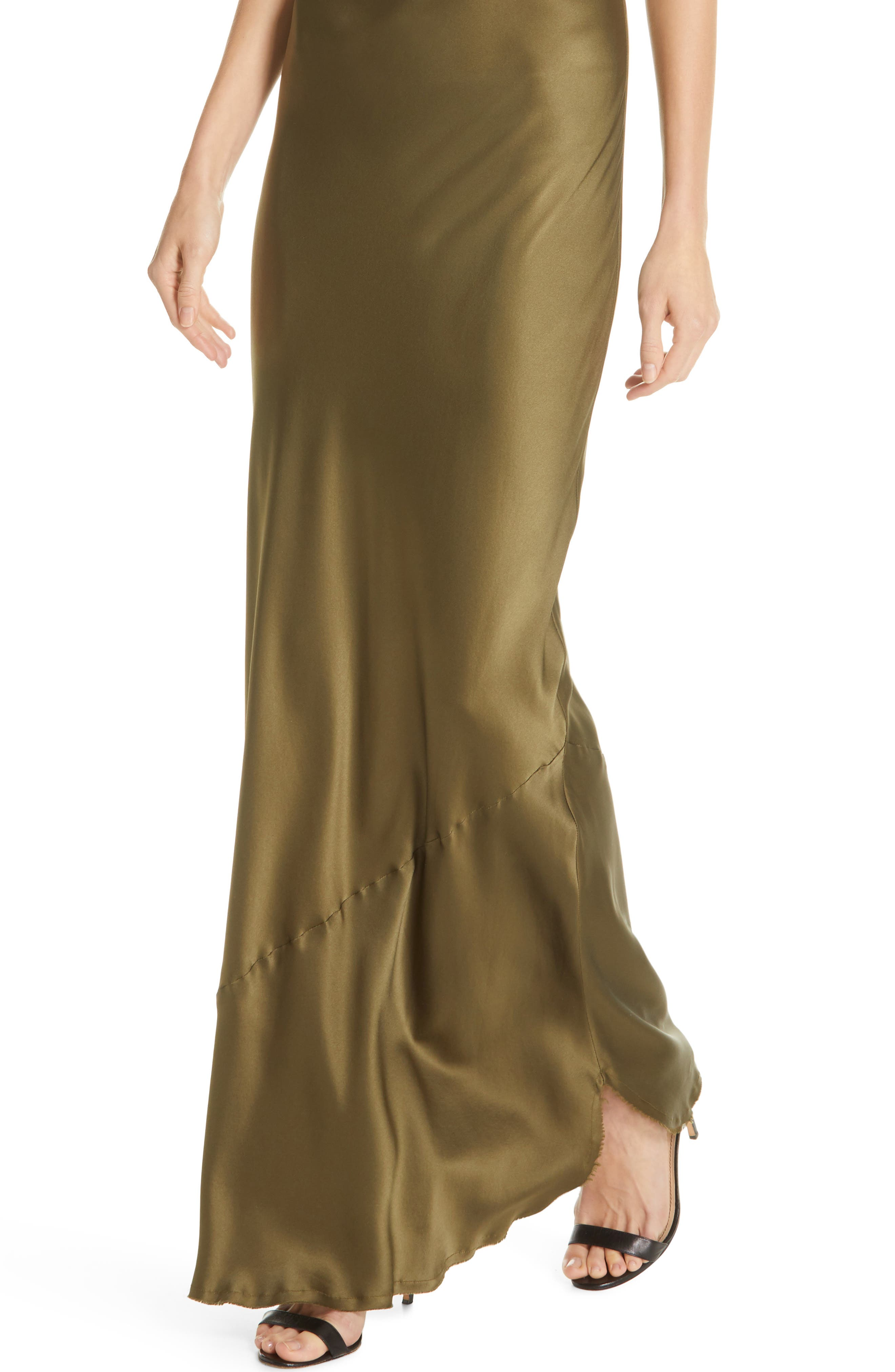 NILI LOTAN, Silk Camisole Gown, Alternate thumbnail 5, color, OLIVE